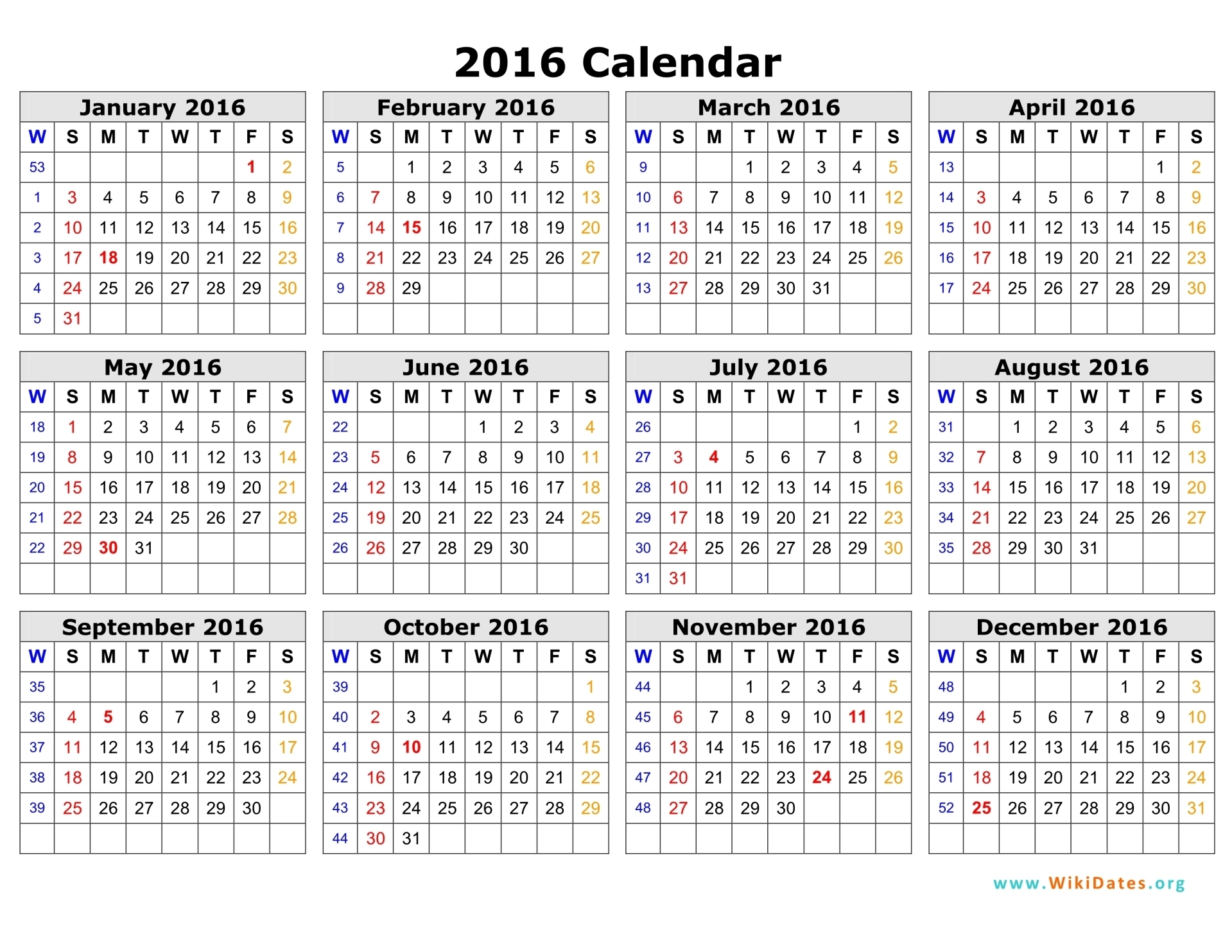 2016 Calendar Template 04  Monthly Calendar Word Template
