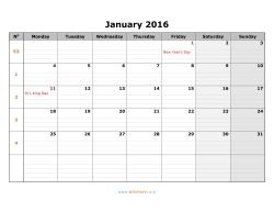 Monday Through Sunday Calendar 2016 Printable | Calendar Template 2016