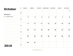october 2016 calendar sunday 02