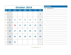 october 2016 calendar sunday 03