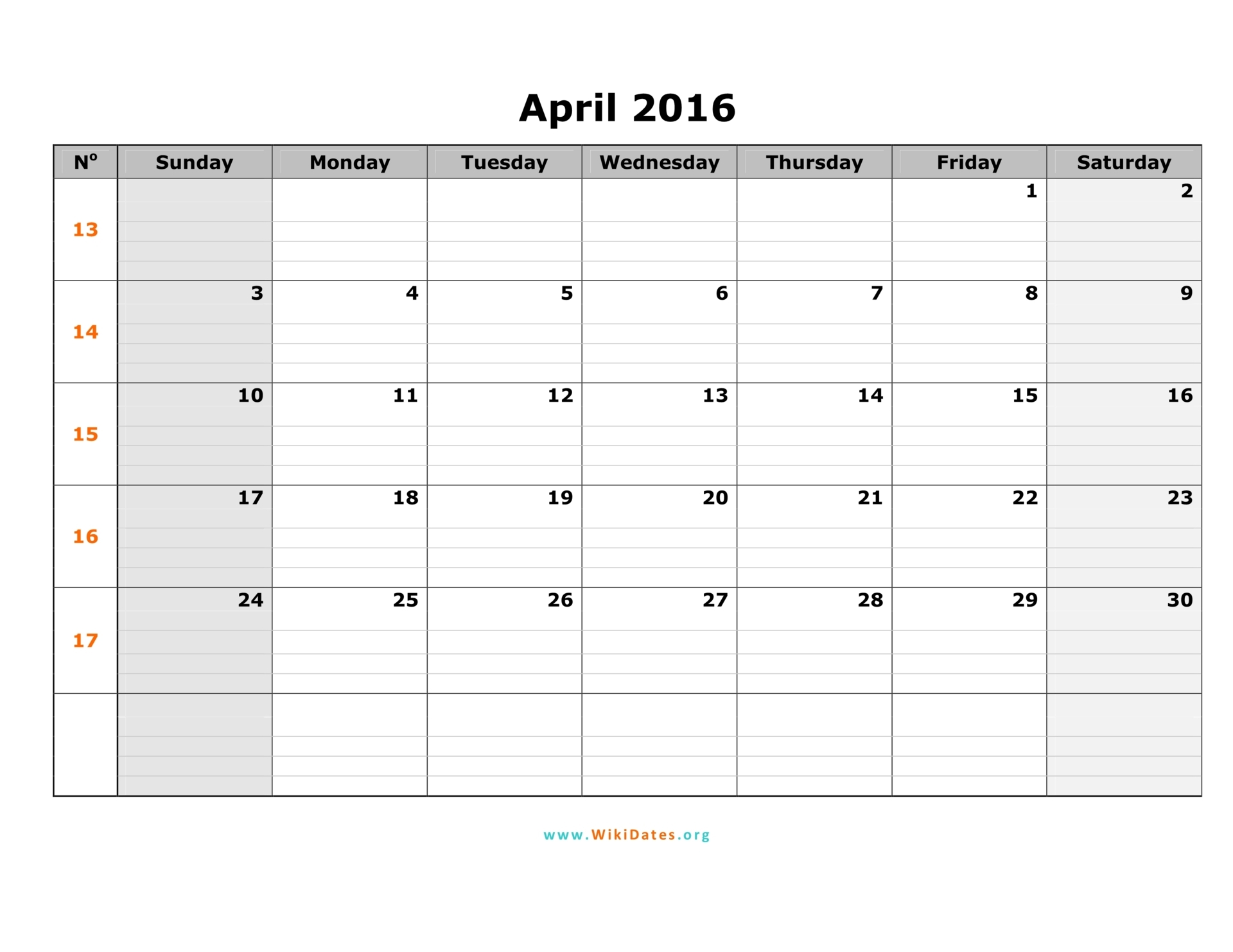 Monday To Sunday Calender | Calendar Template 2016
