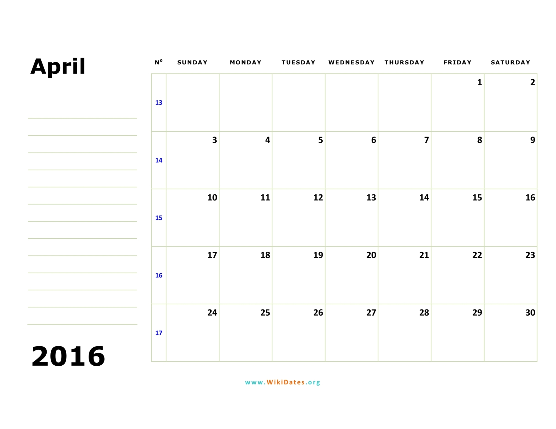 April 2016 Calendar | WikiDates.org