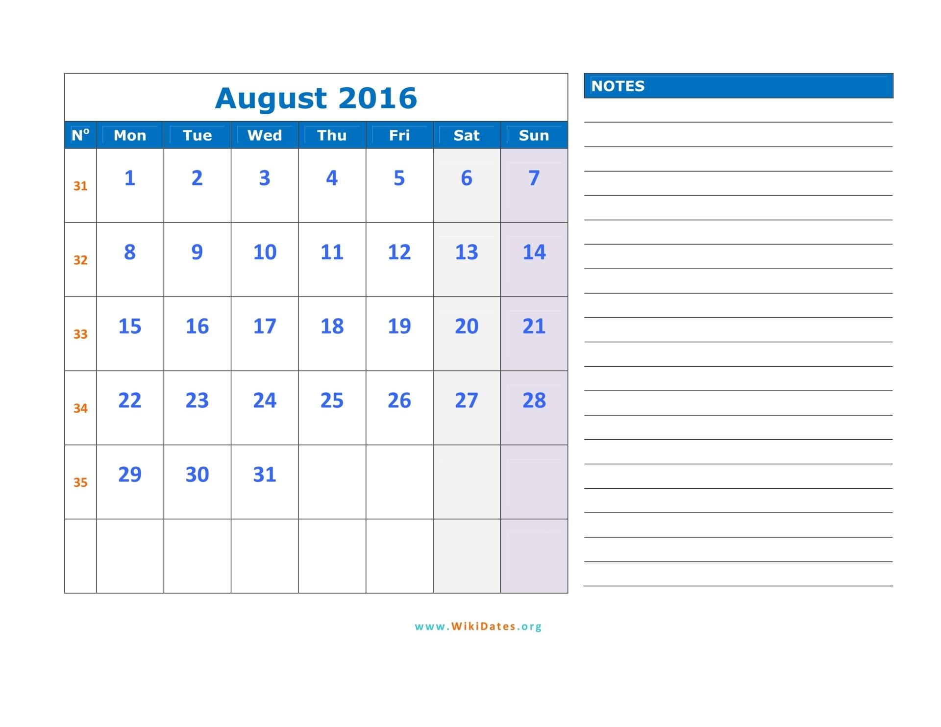August 2016 Calendar | WikiDates.org