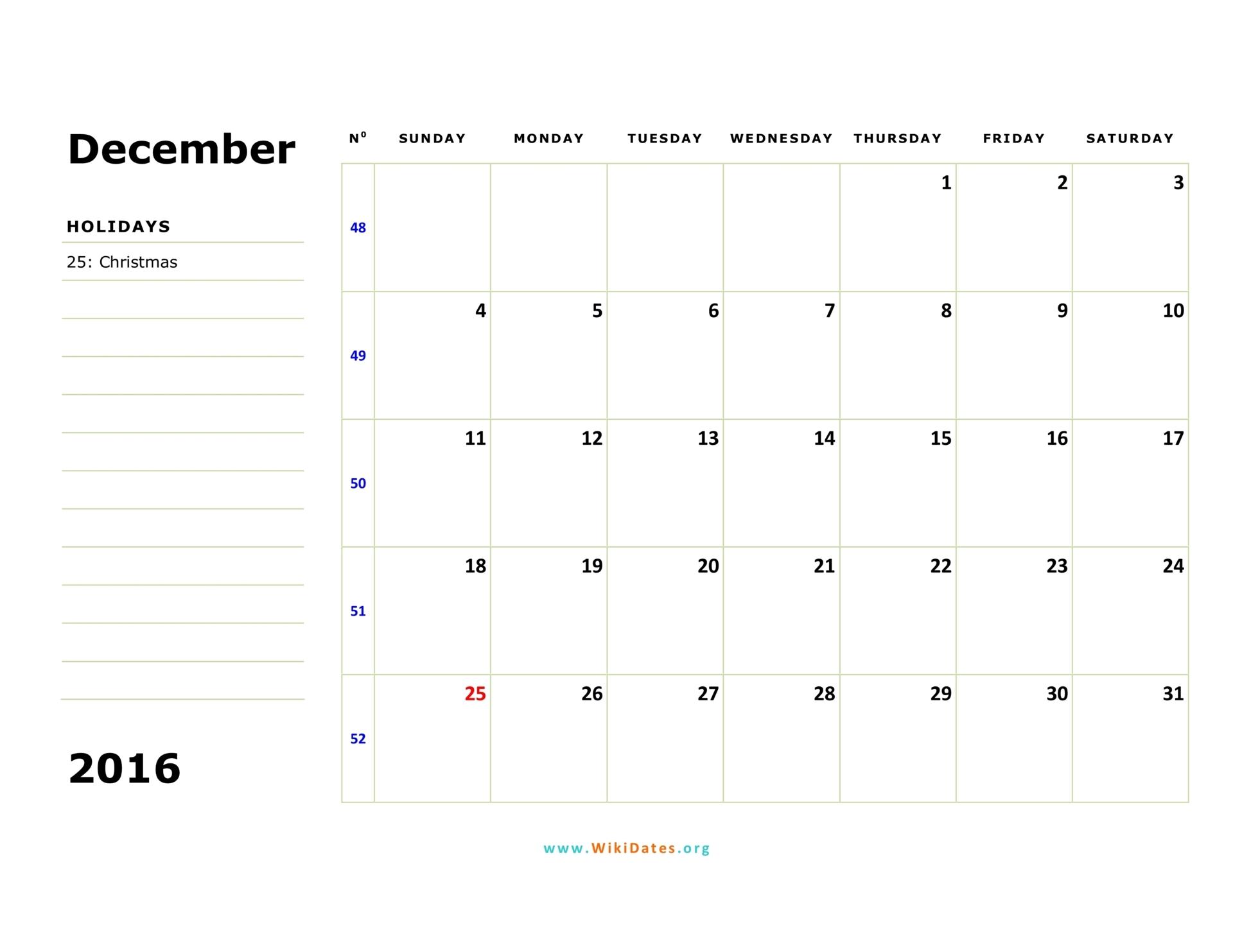 December Calendar 2016 With Holidays