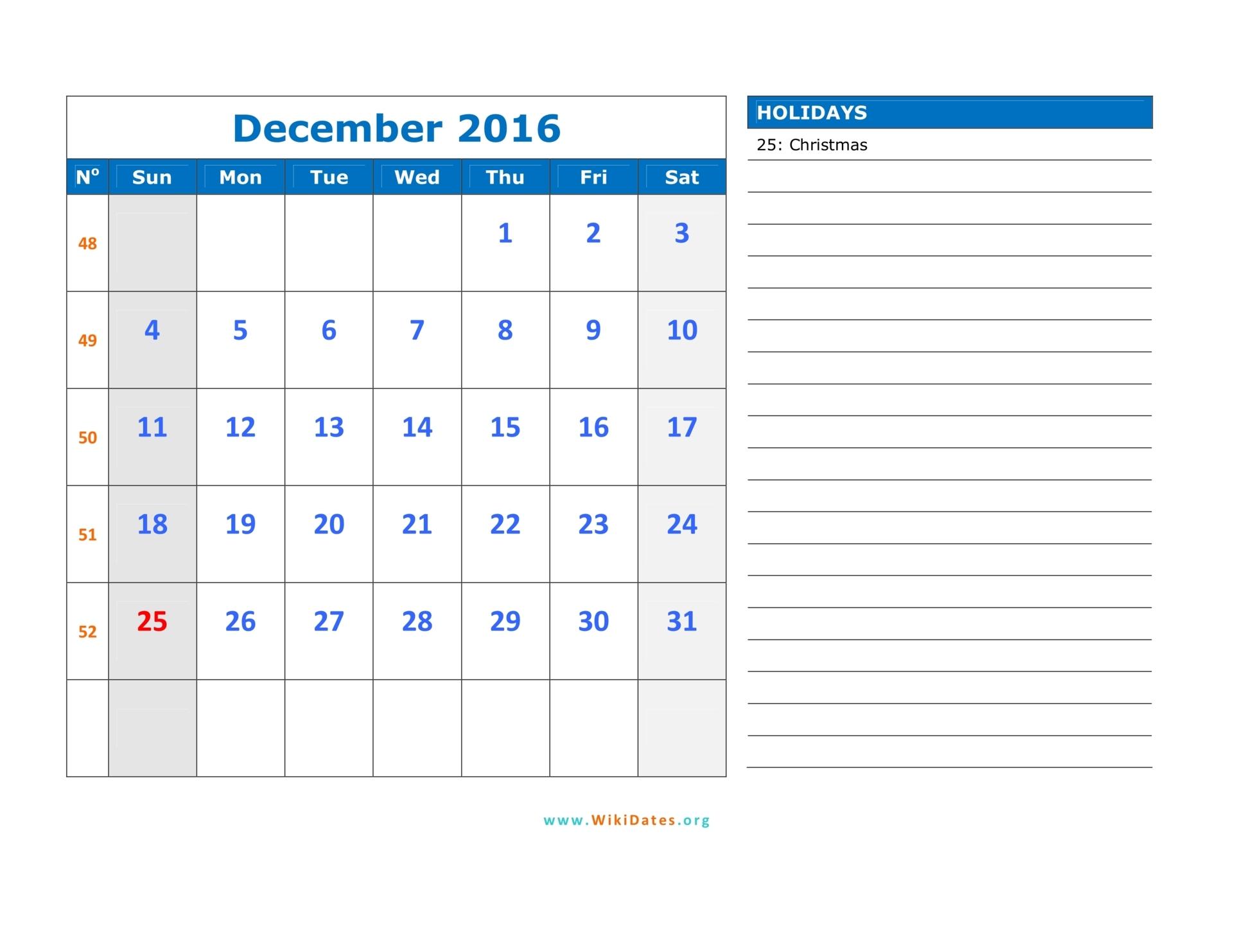 December 2016 Calendar | WikiDates.org