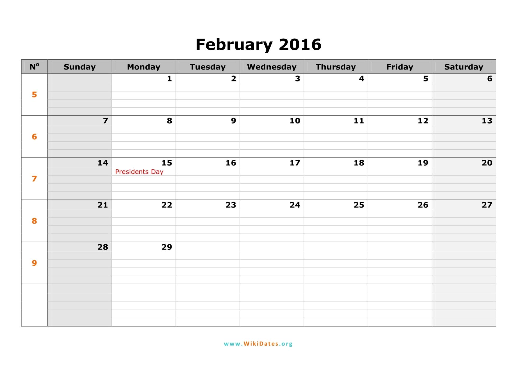 Printable February 2016 Calendar Pdf | Calendar Template 2016