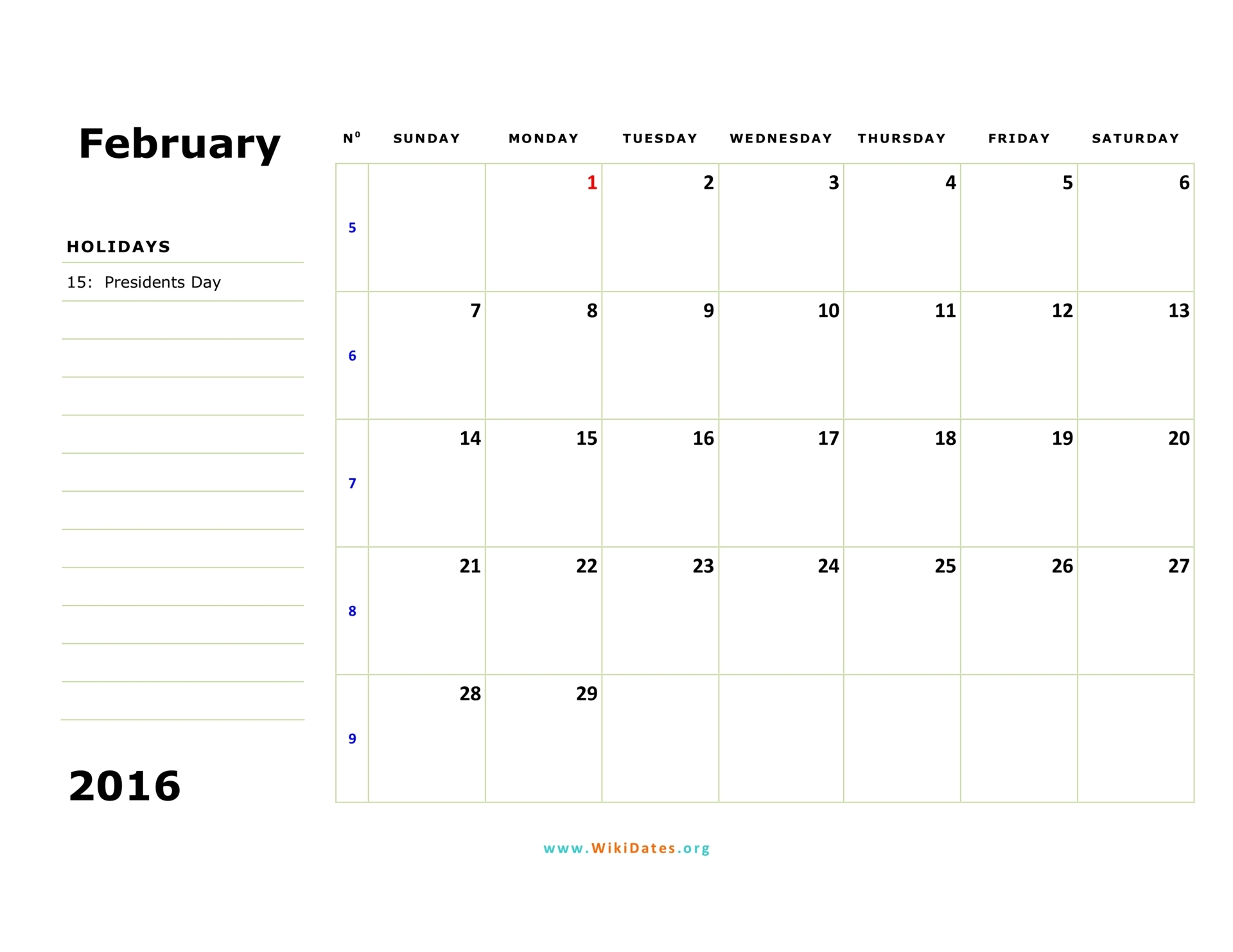 February 2016 Calendar | WikiDates.org