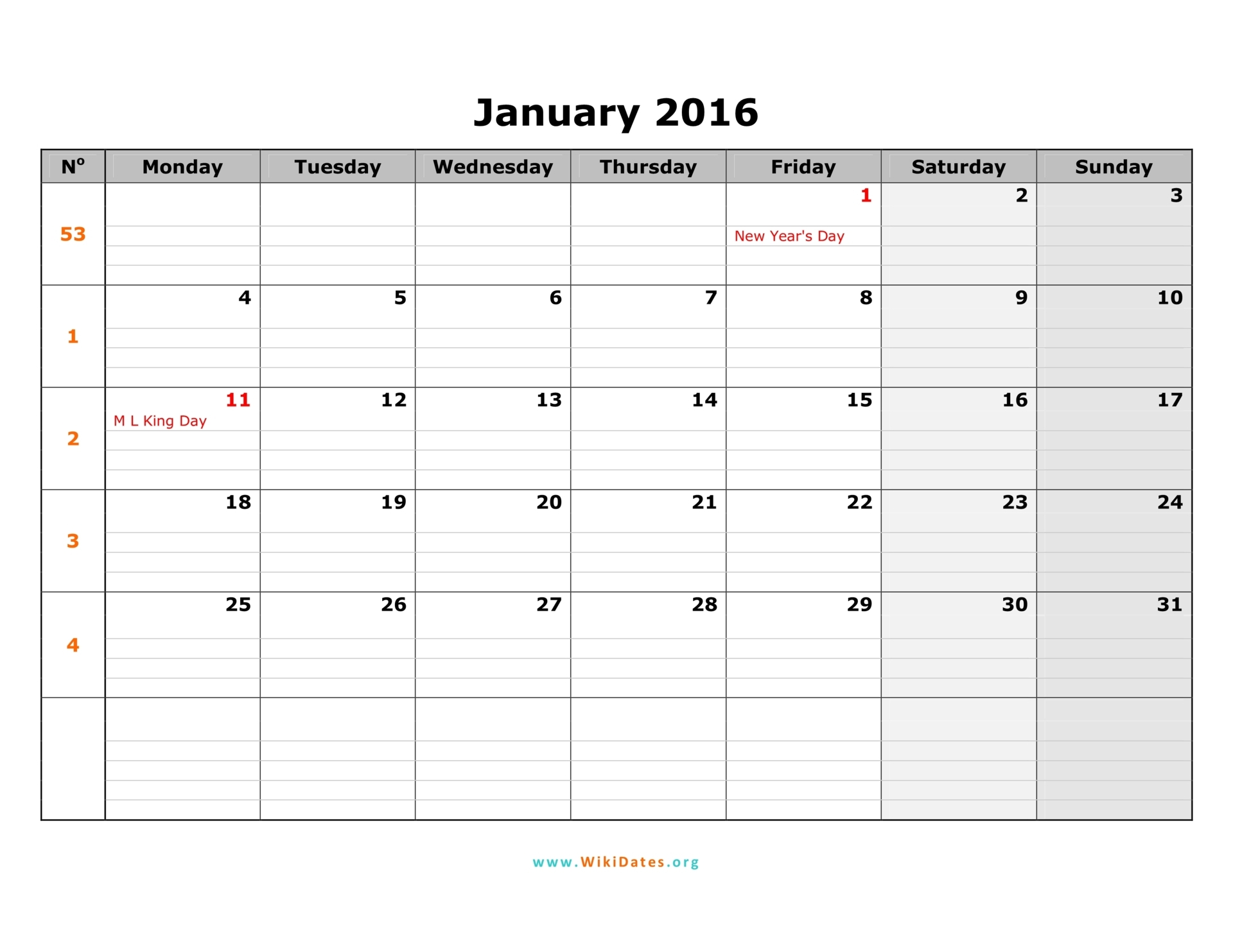 January 2016 Calendar | WikiDates.org