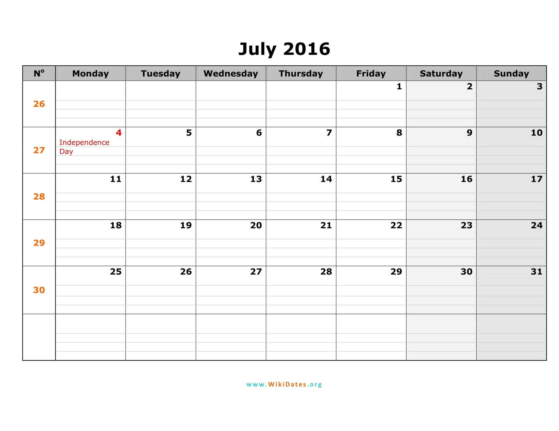 July 2016 Calendar | WikiDates.org