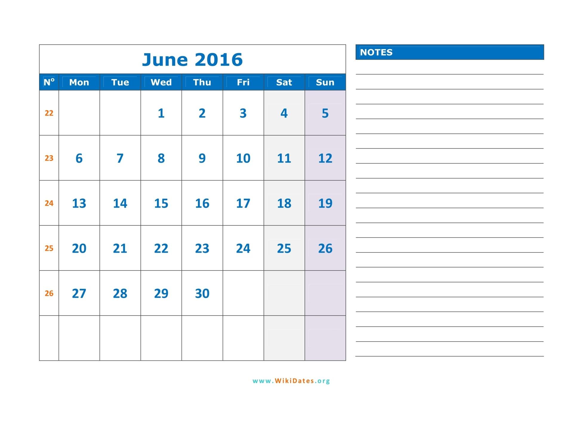 June 2016 Calendar | WikiDates.org