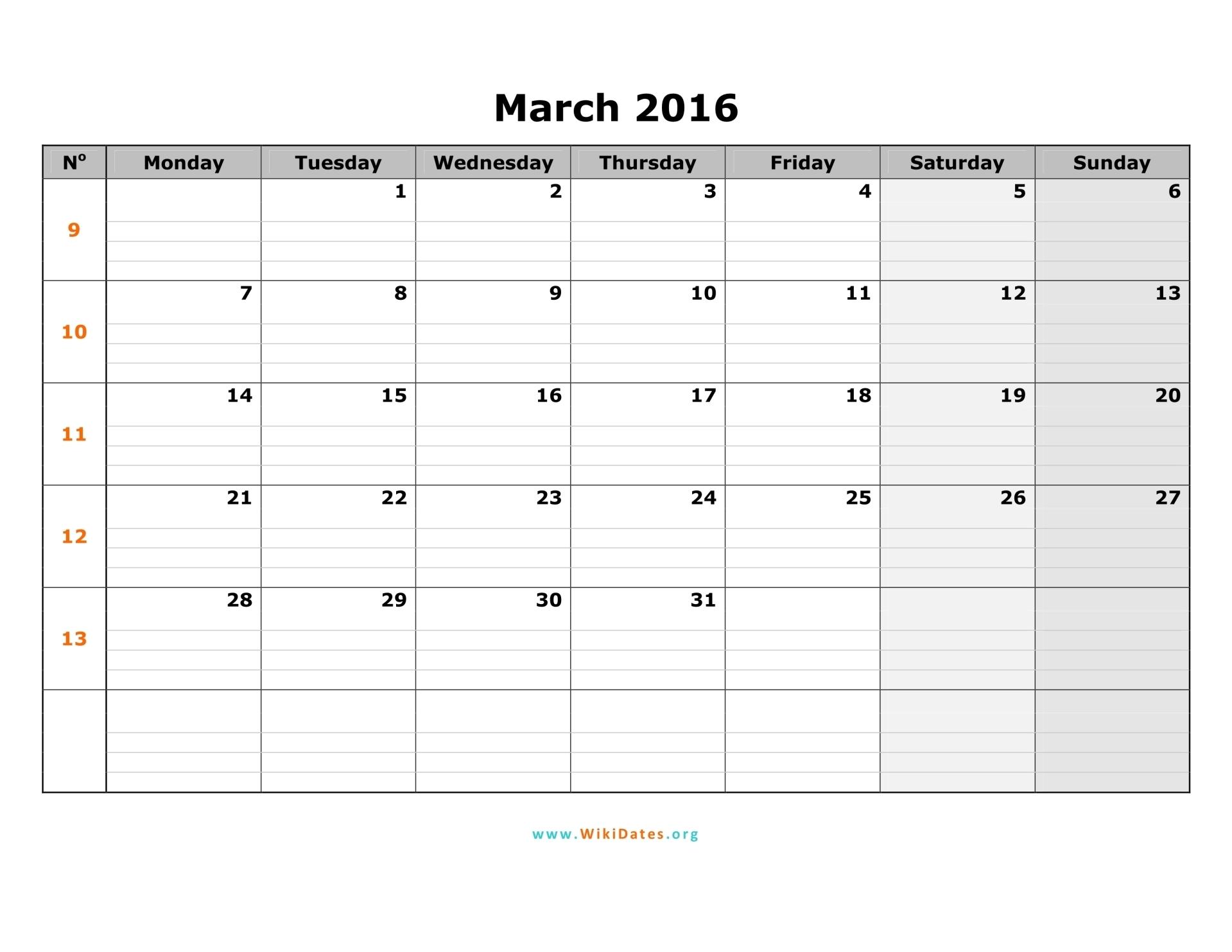March 2016 Calendar | WikiDates.org