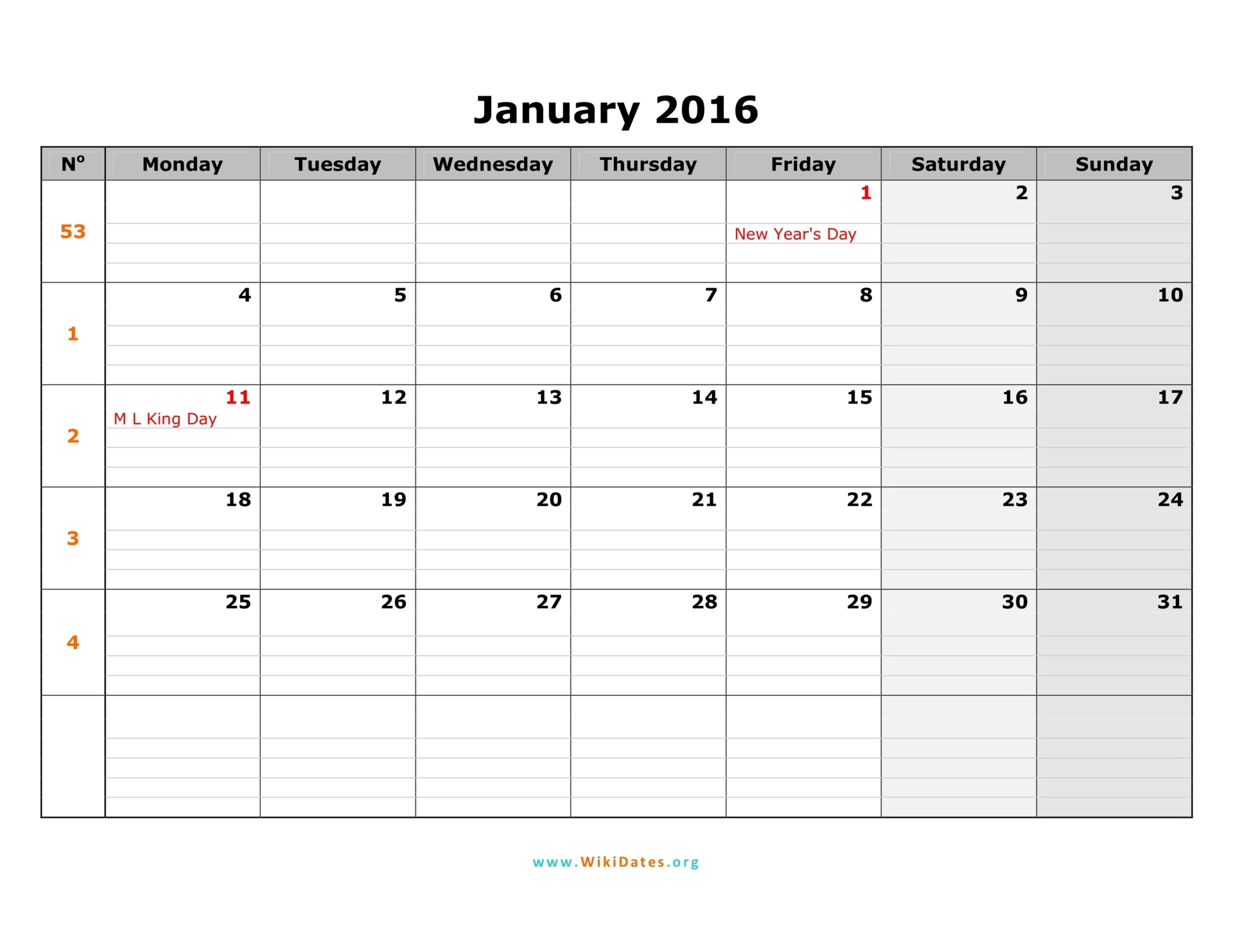 2016 Week Number Calendar Monthly Monday To Sunday | Calendar Template ...