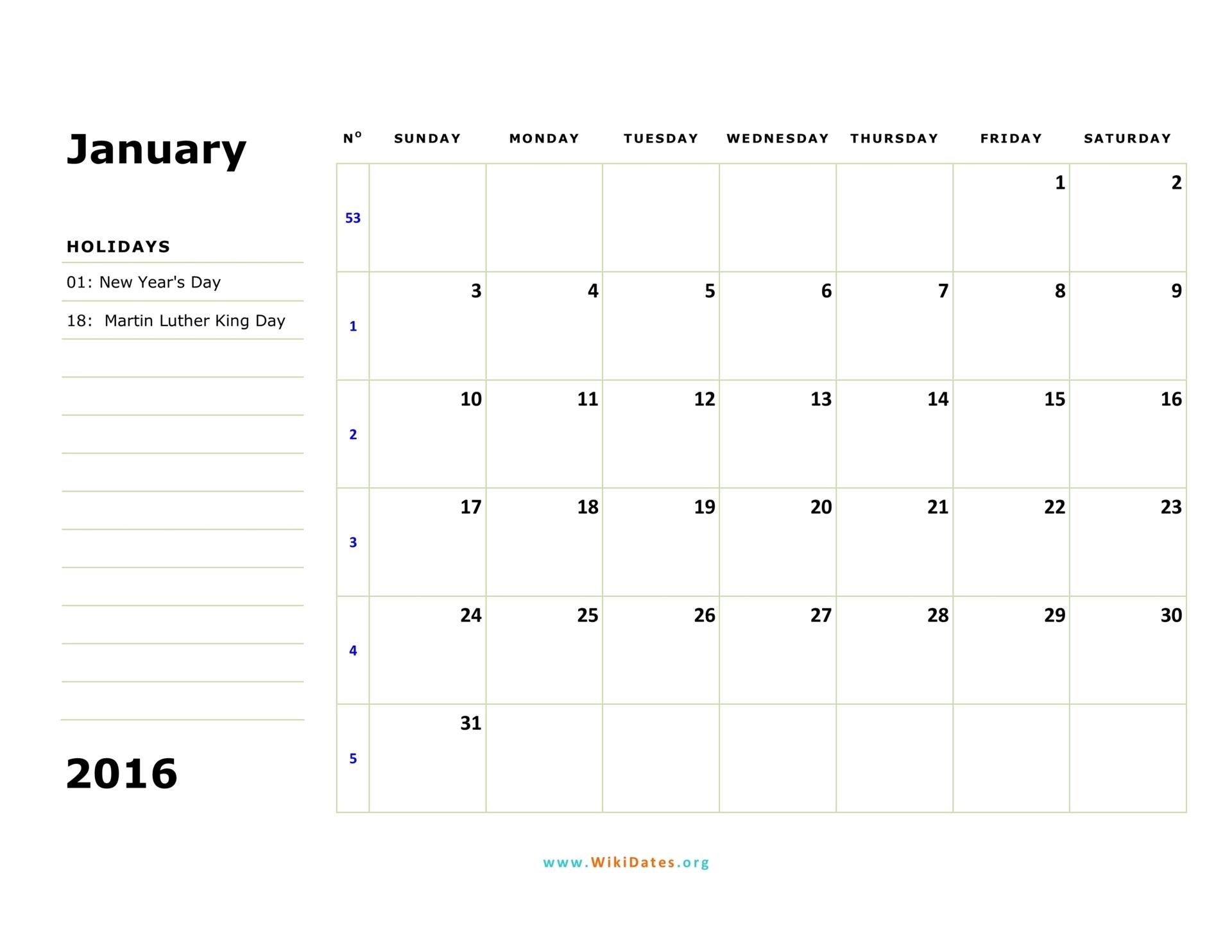 sunday monthly calendar 2016 02
