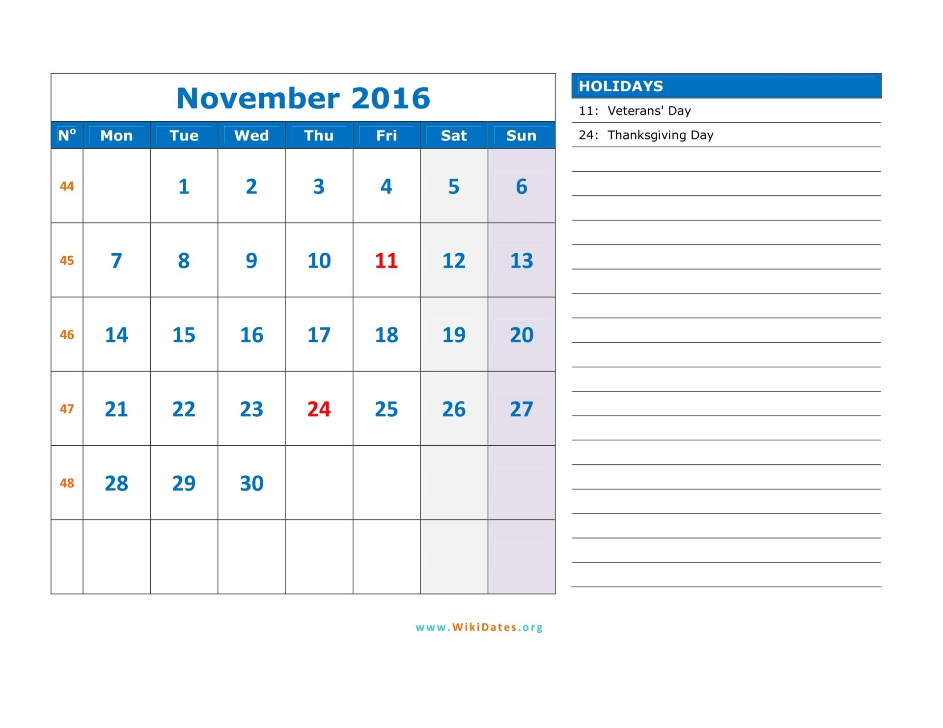 November 2016 Calendar | WikiDates.org