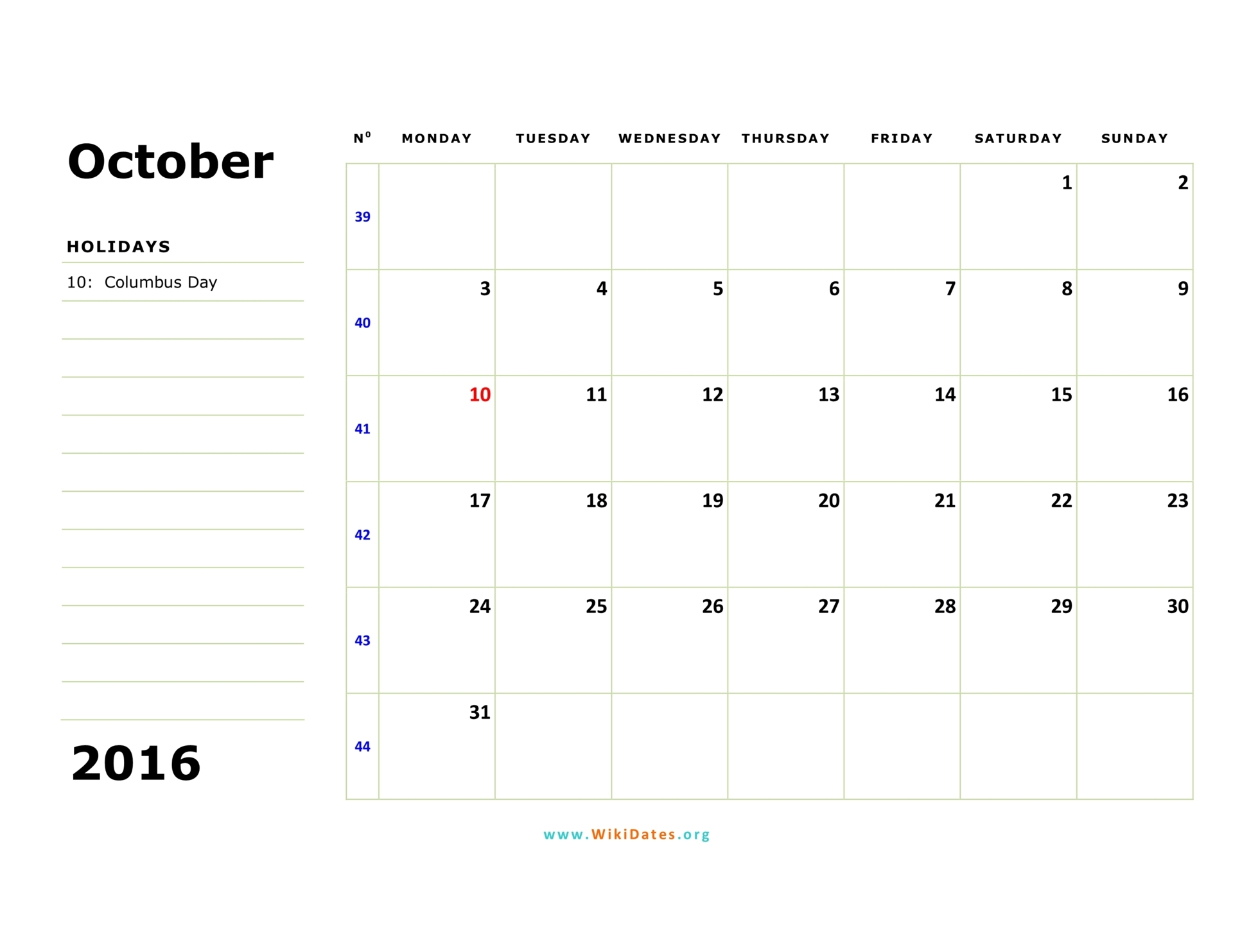 October 2016 Calendar Wikidates Org