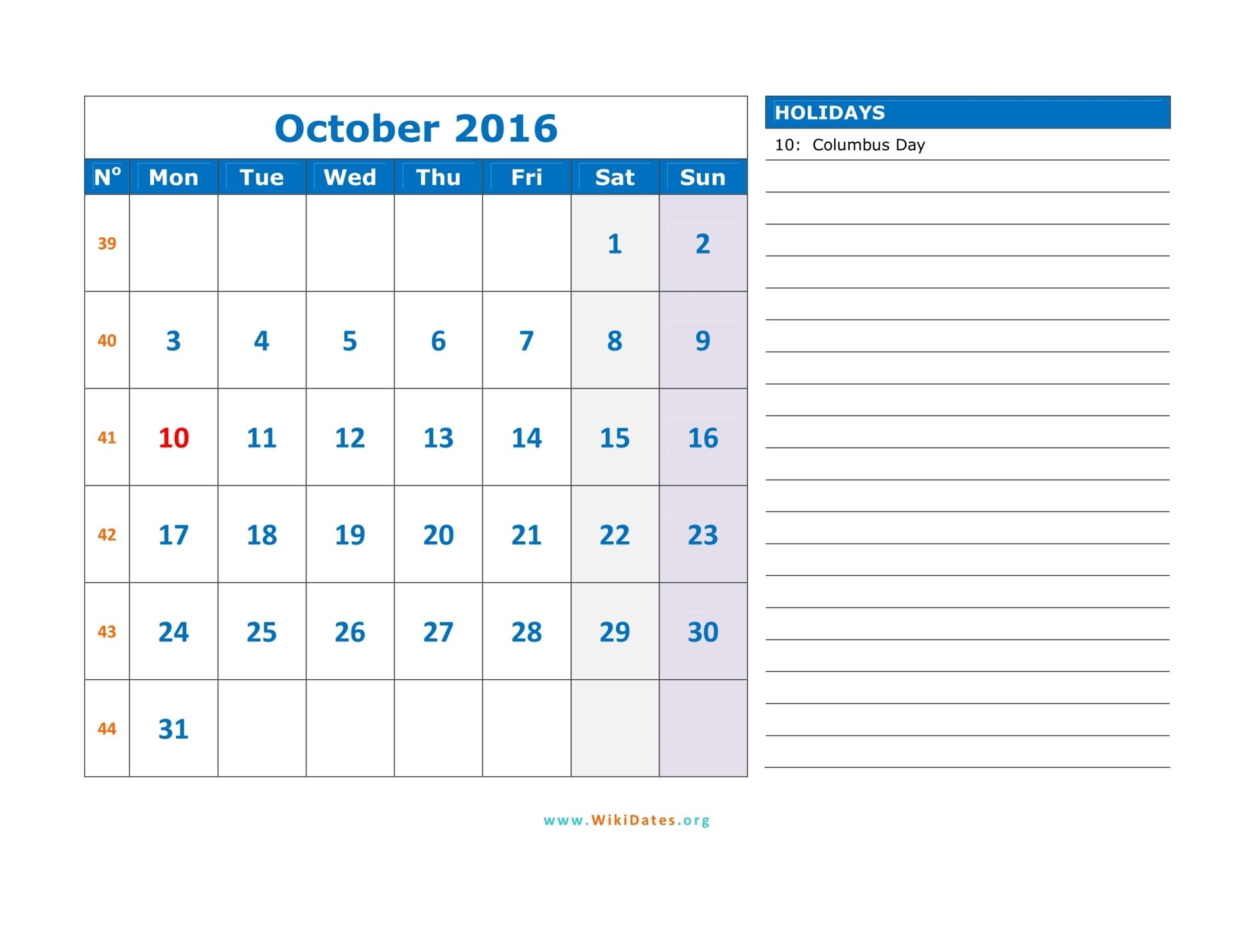 October 2016 Calendar   WikiDates.org