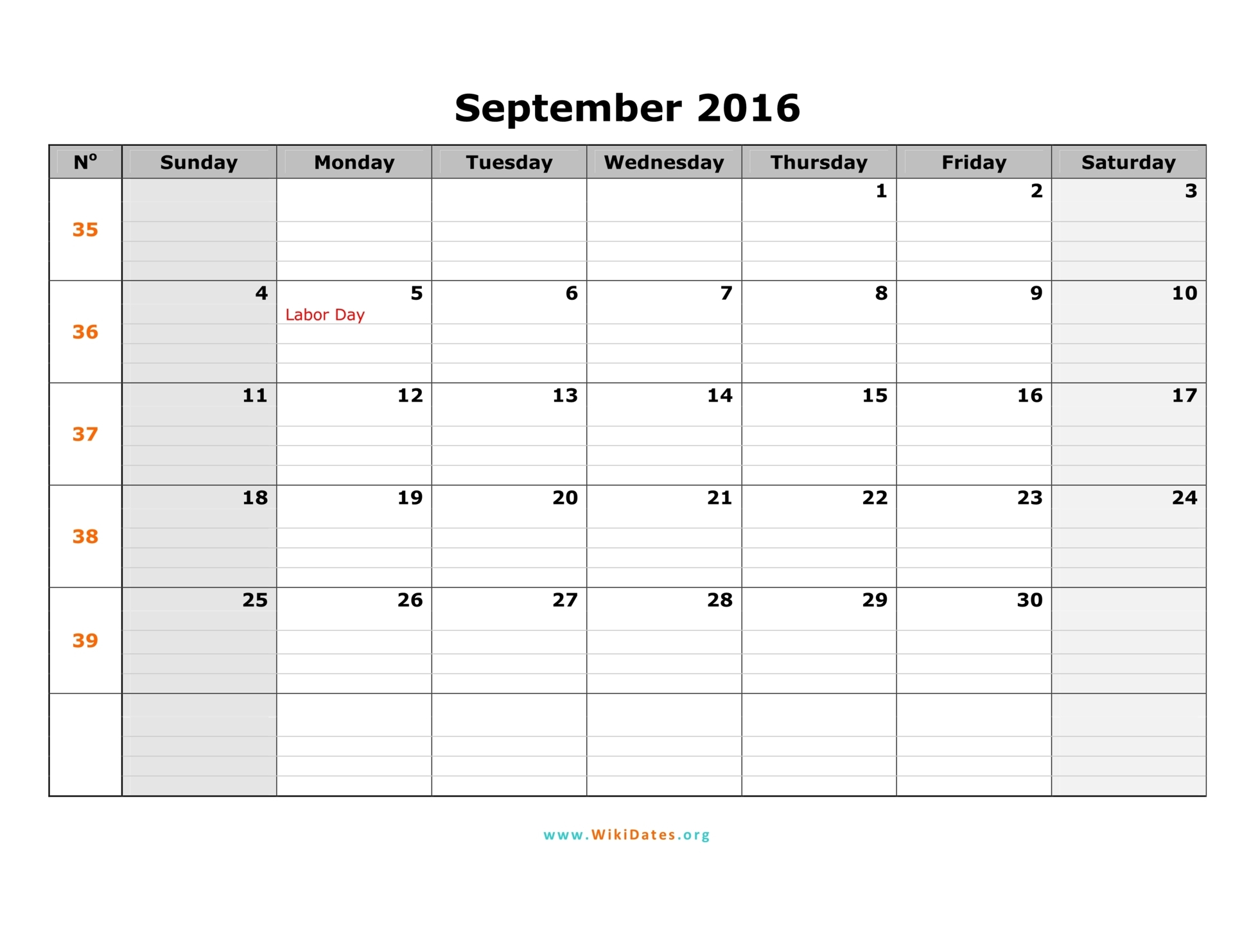 September 2016 Printable Calendar, September 2016 Calendar PDF, September 2016 Calendar Excel, September 2016 Calendar Word