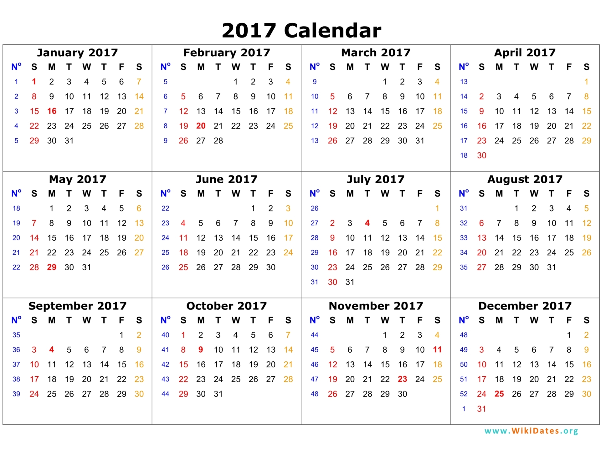 One Page Calendar 2017 – Printable Pages