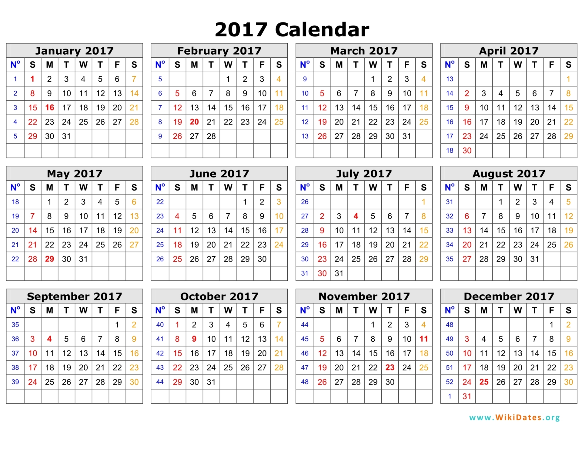 2017 Calendar Template 04  Monthly Planner Template Word