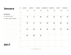january 2017 calendar sunday 02