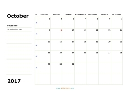 october 2017 calendar sunday 02