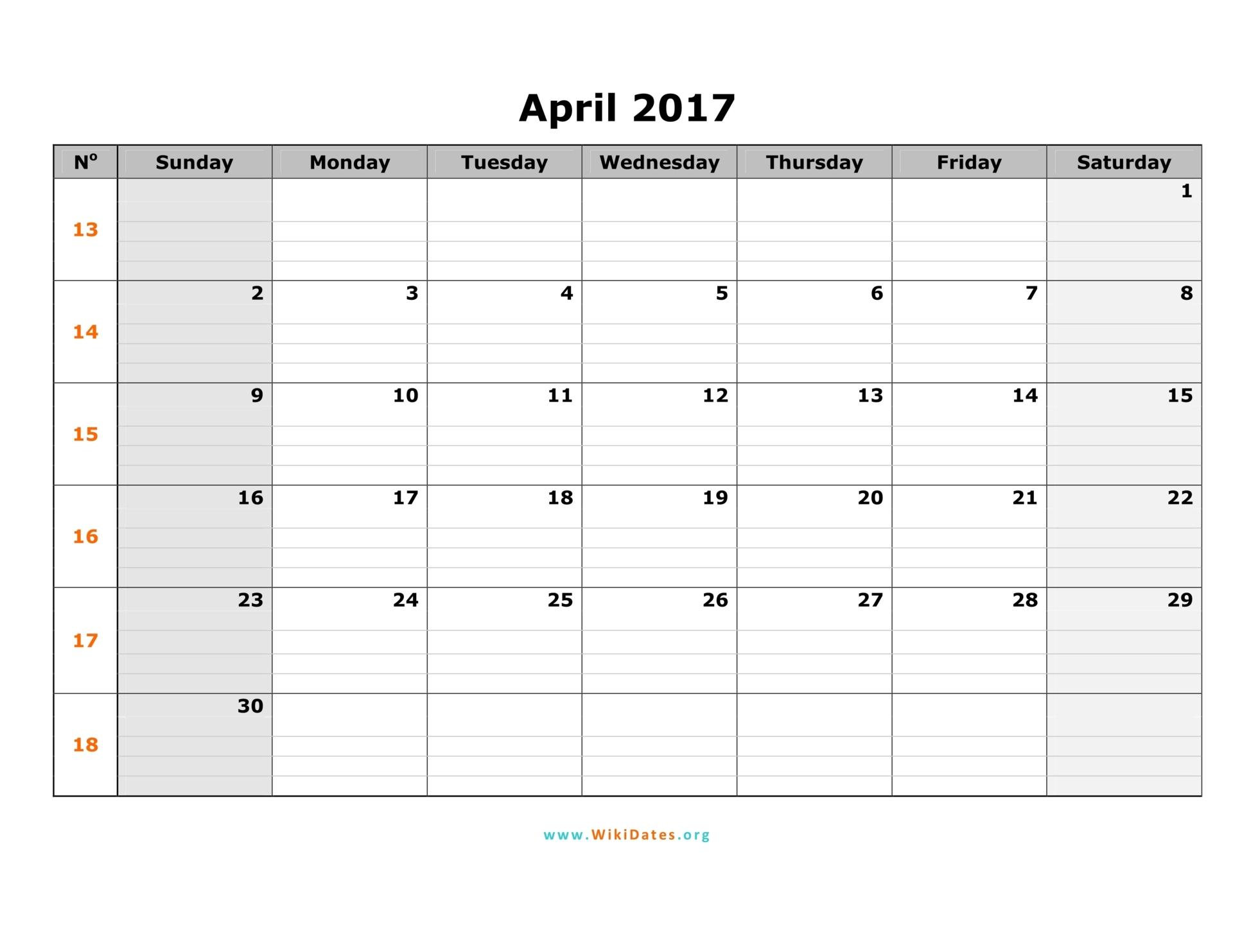 April 2017 Calendar   WikiDates.org
