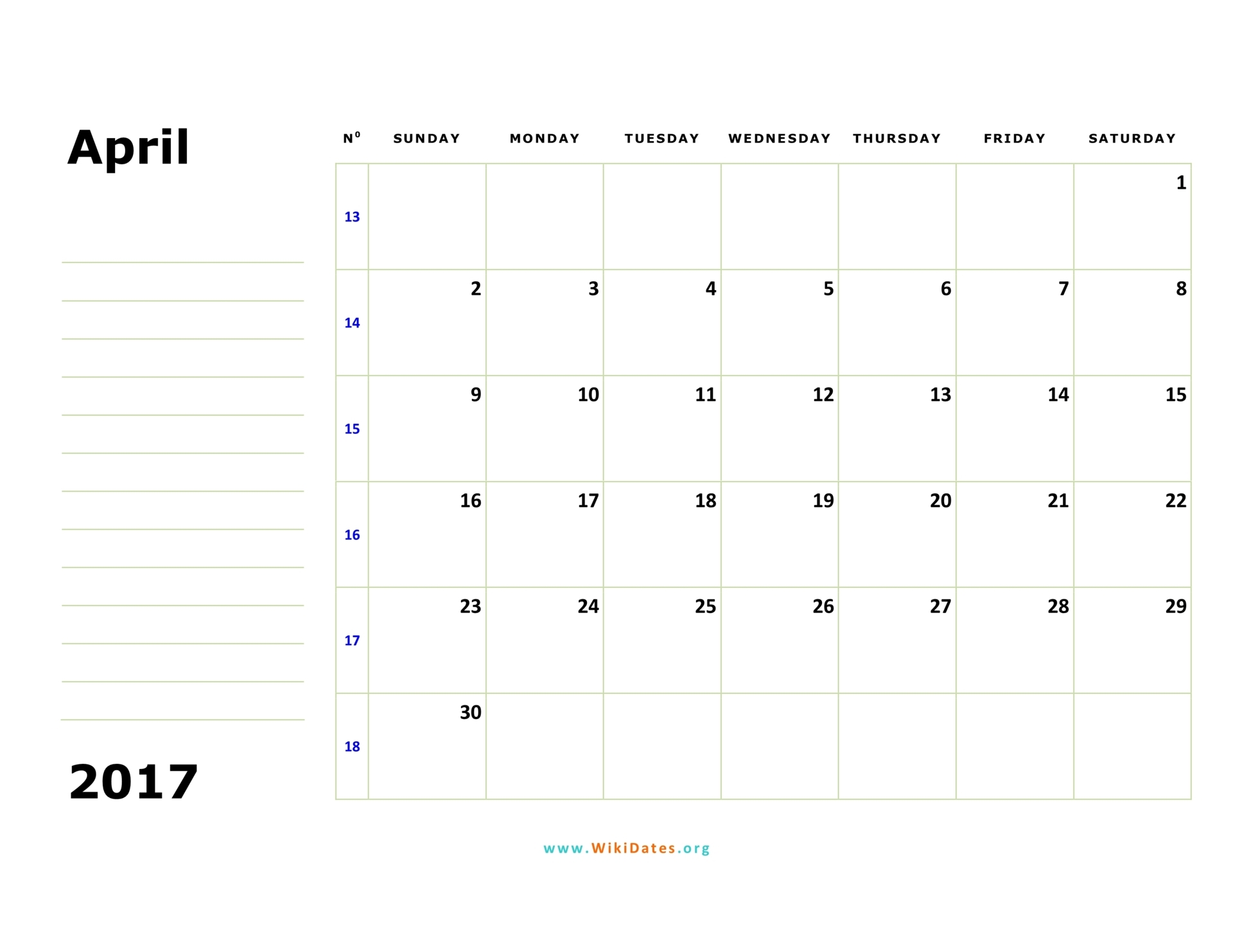 April 2017 Calendar | WikiDates.org