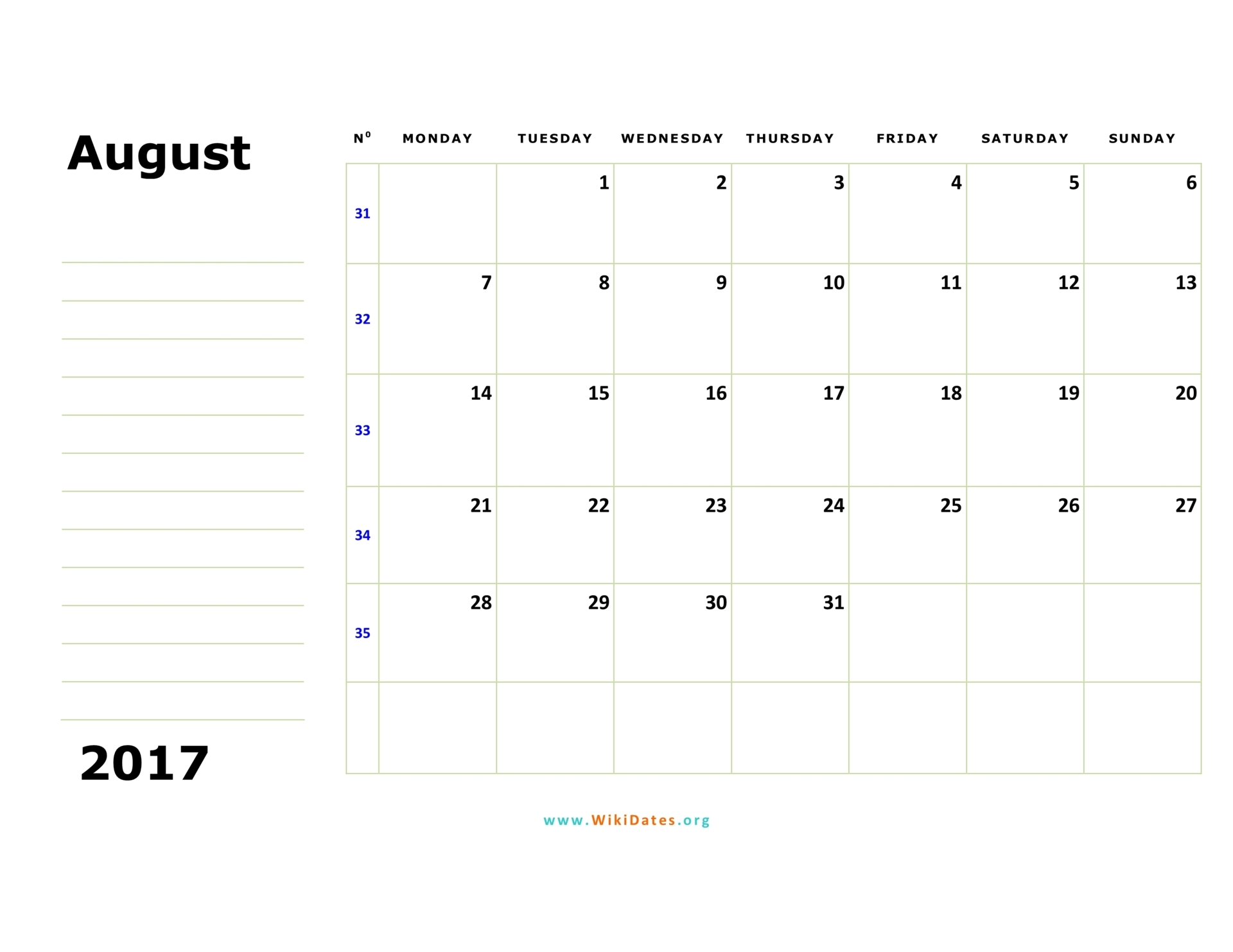 Printable Calendar October 2017 Monthly Calendar Template ...