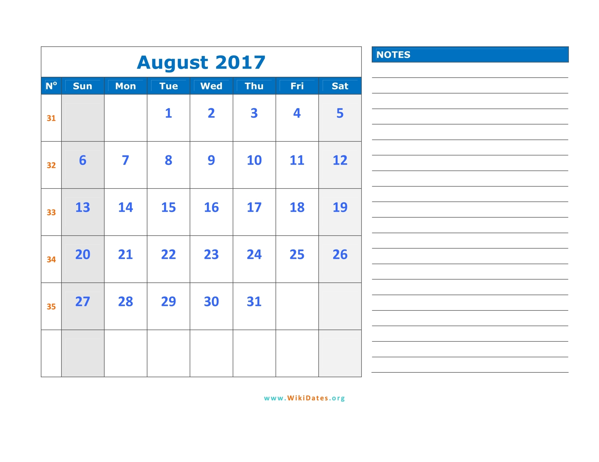 free horizontal monthly calendar 2017 | Printable ...