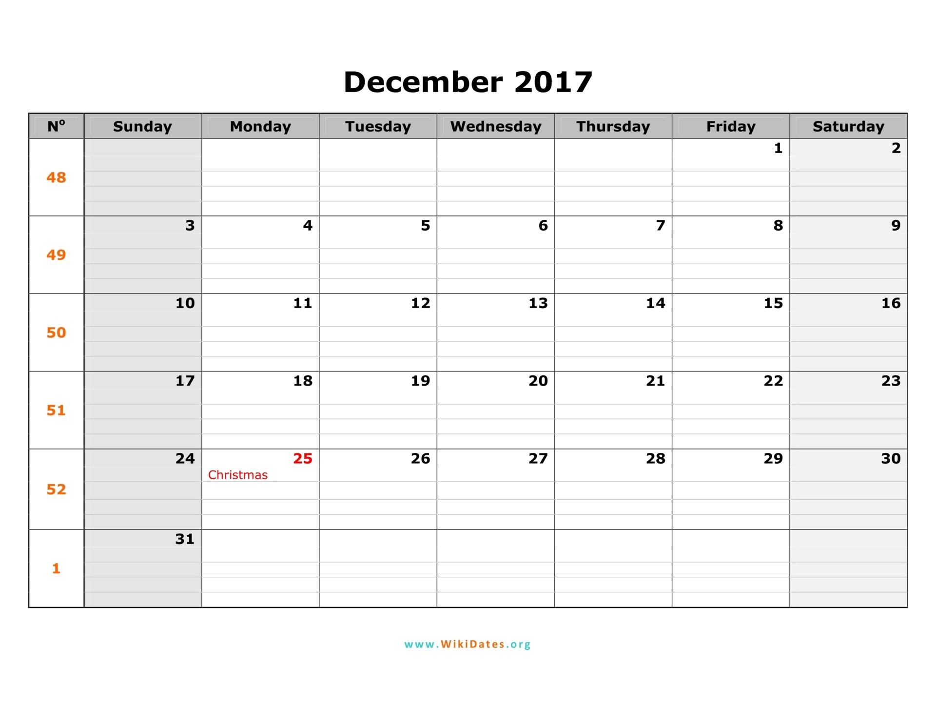 december calendar template 2018