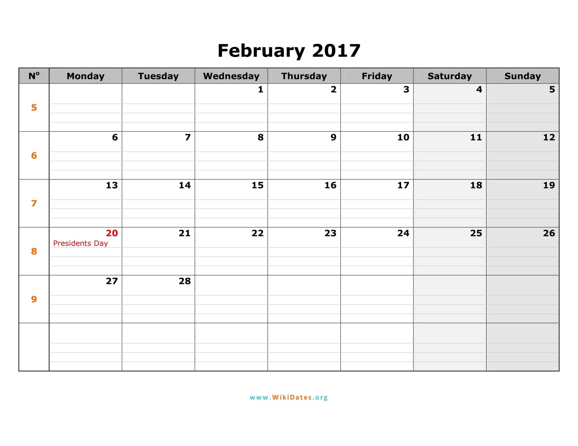 February 2017 Calendar | WikiDates.org