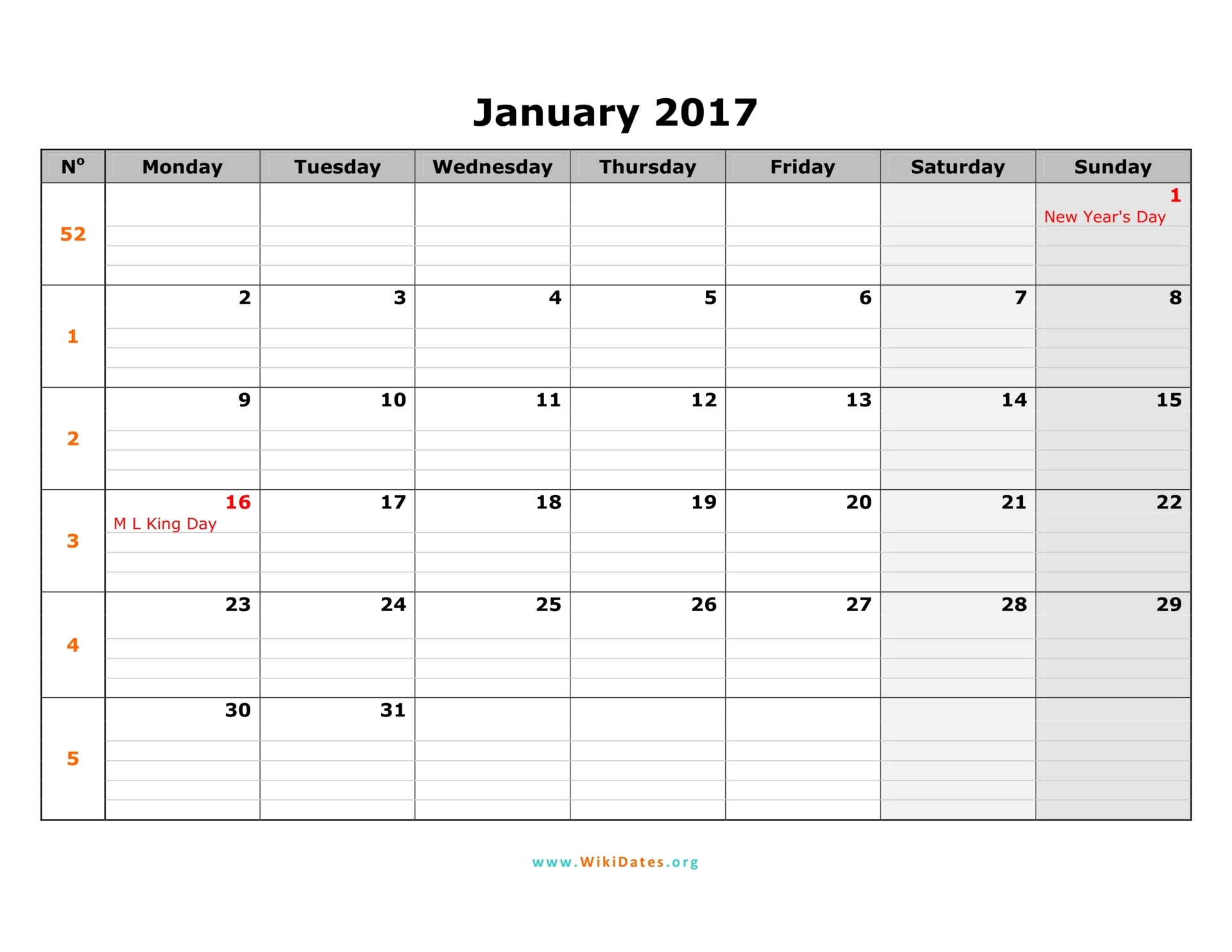January 2017 Calendar | WikiDates.org