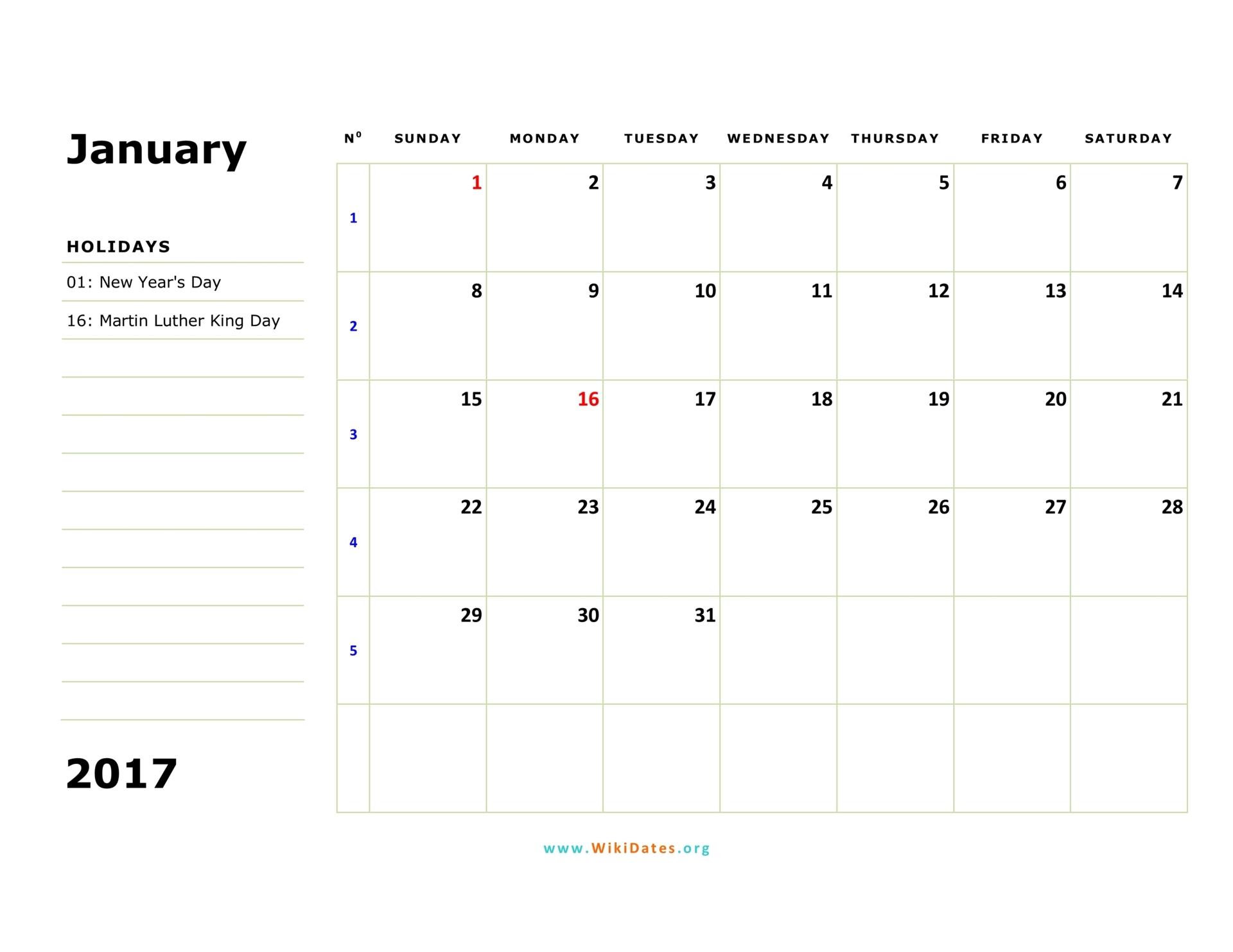 January 2017 Calendar   WikiDates.org
