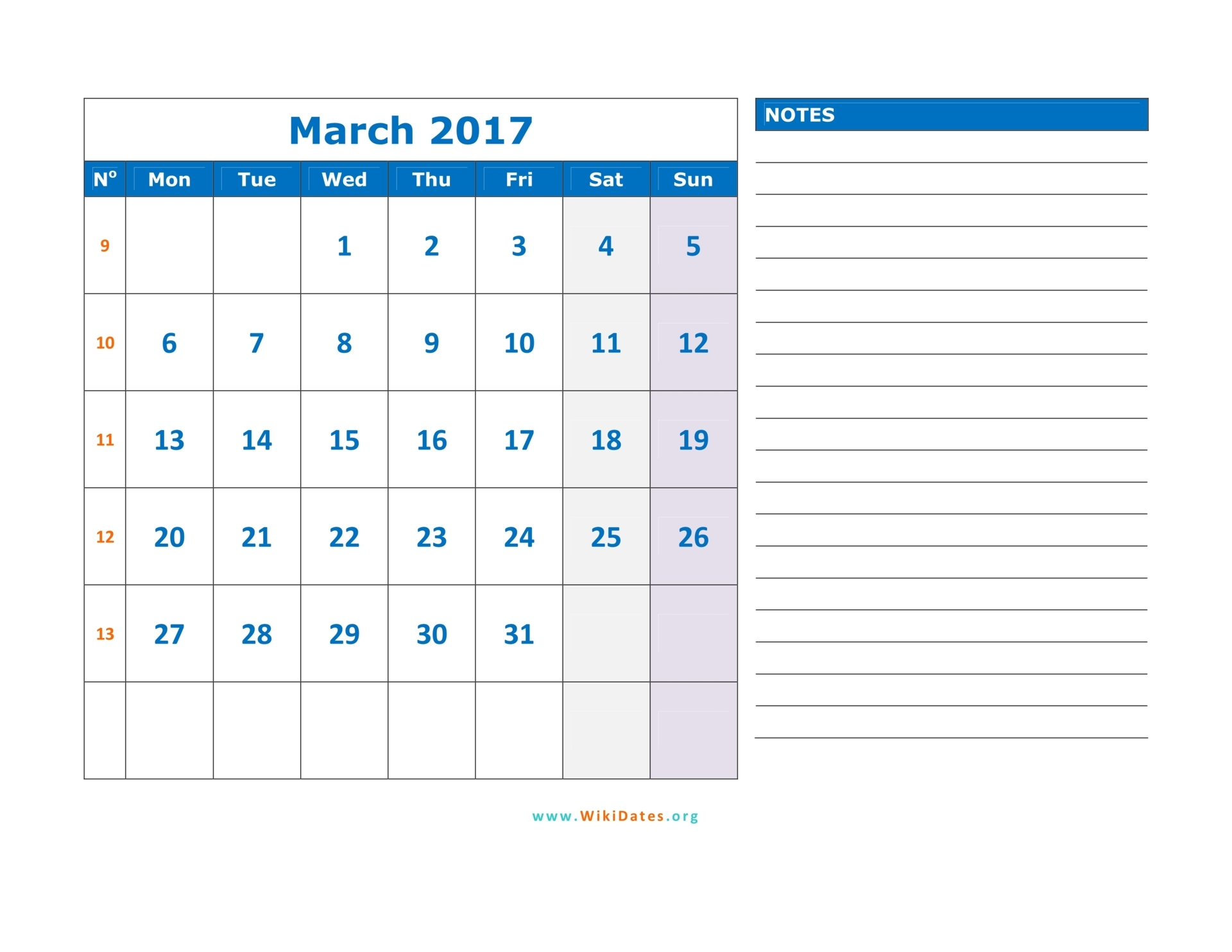 March 2017 Calendar | WikiDates.org