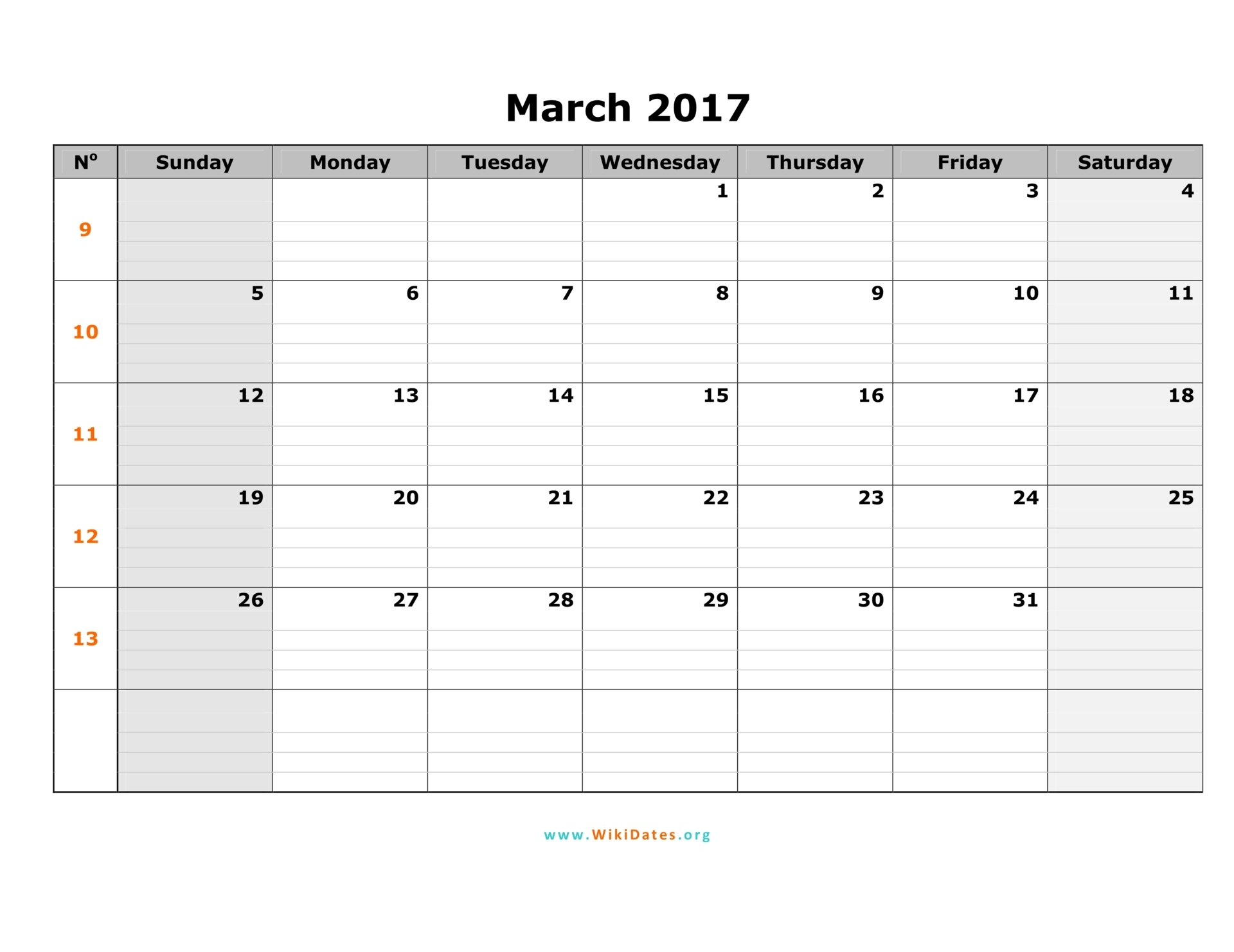 March 2017 Calendar Sunday 01