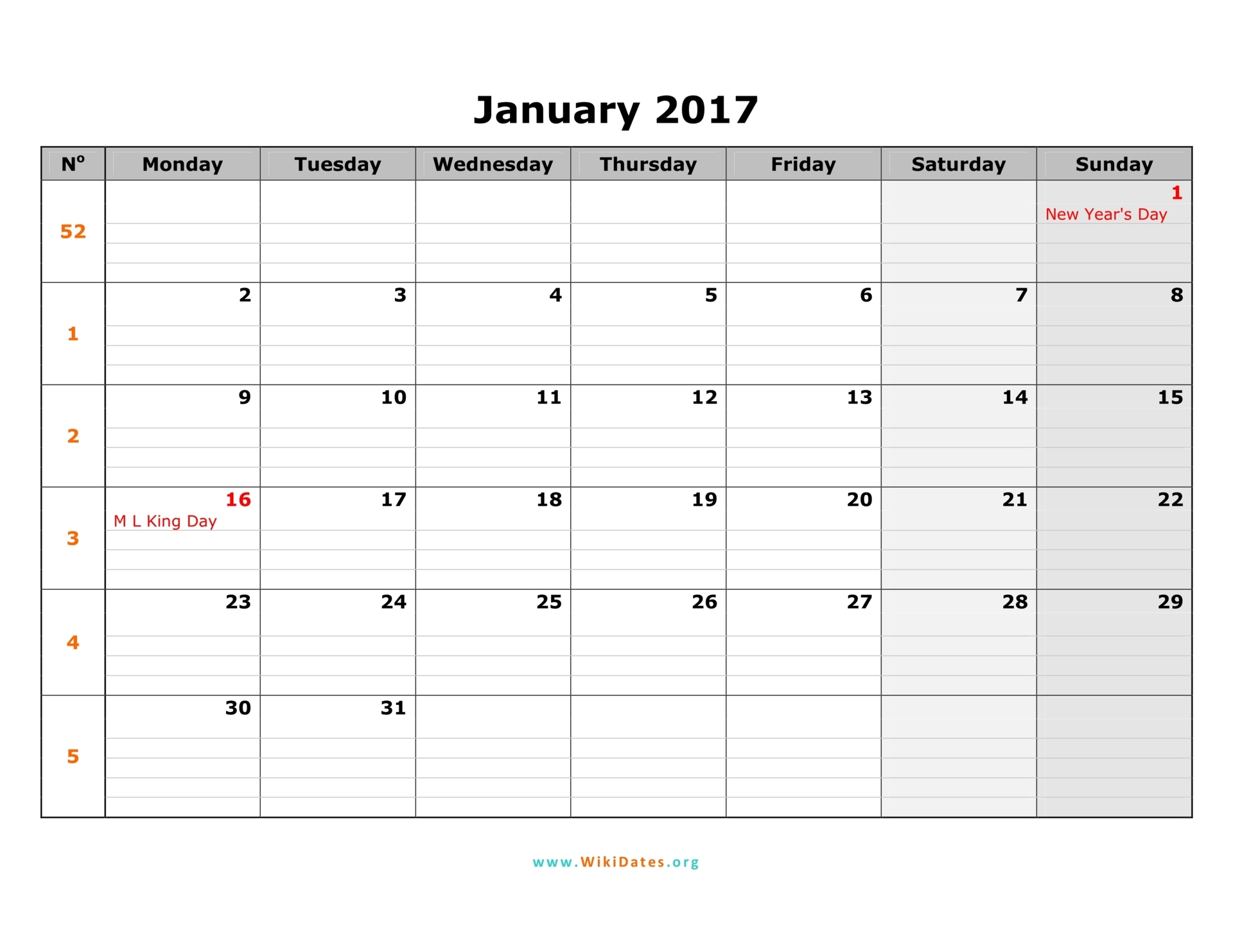 monday monthly calendar 2017