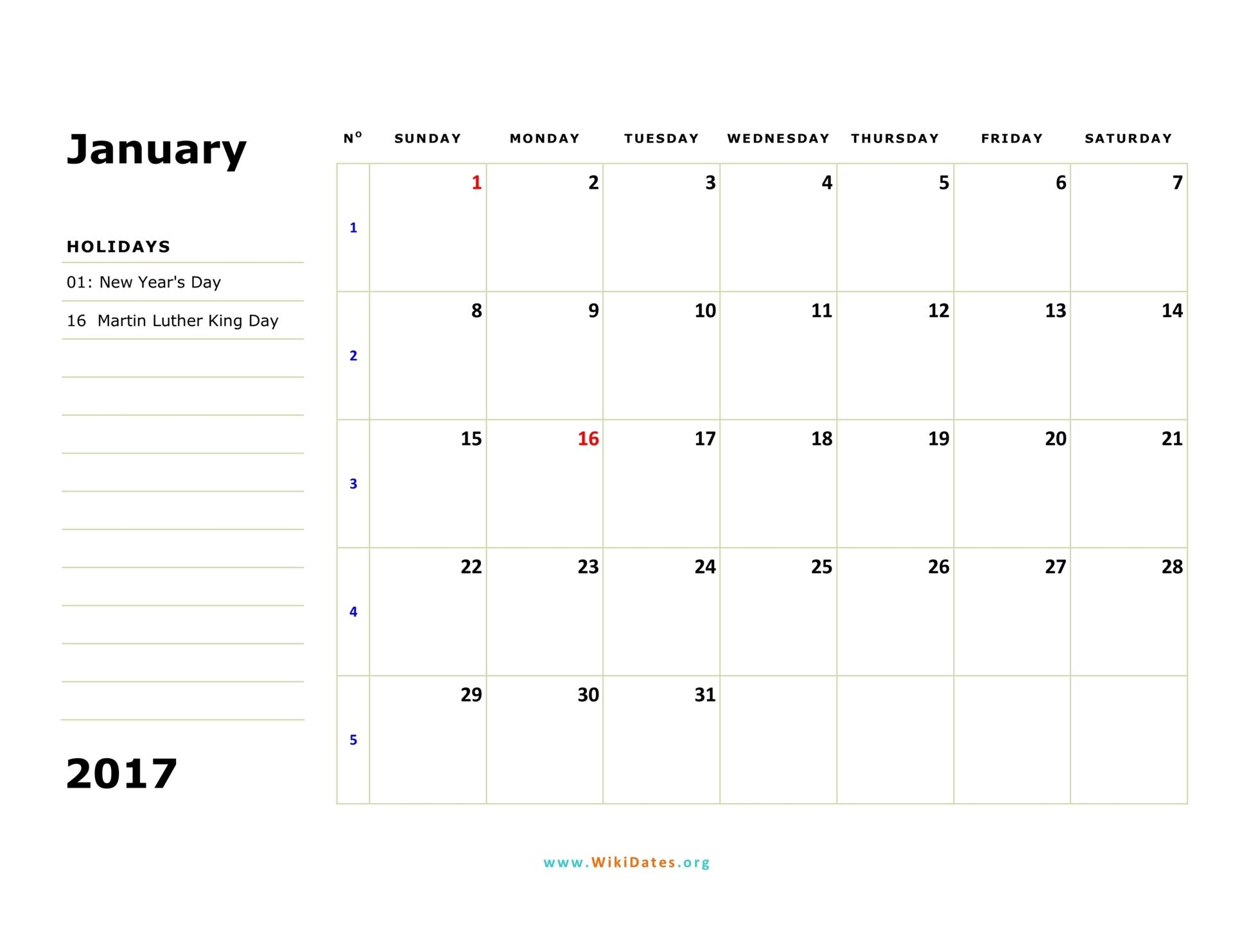 Calendar Monthly 2017 : Calendar wikidates