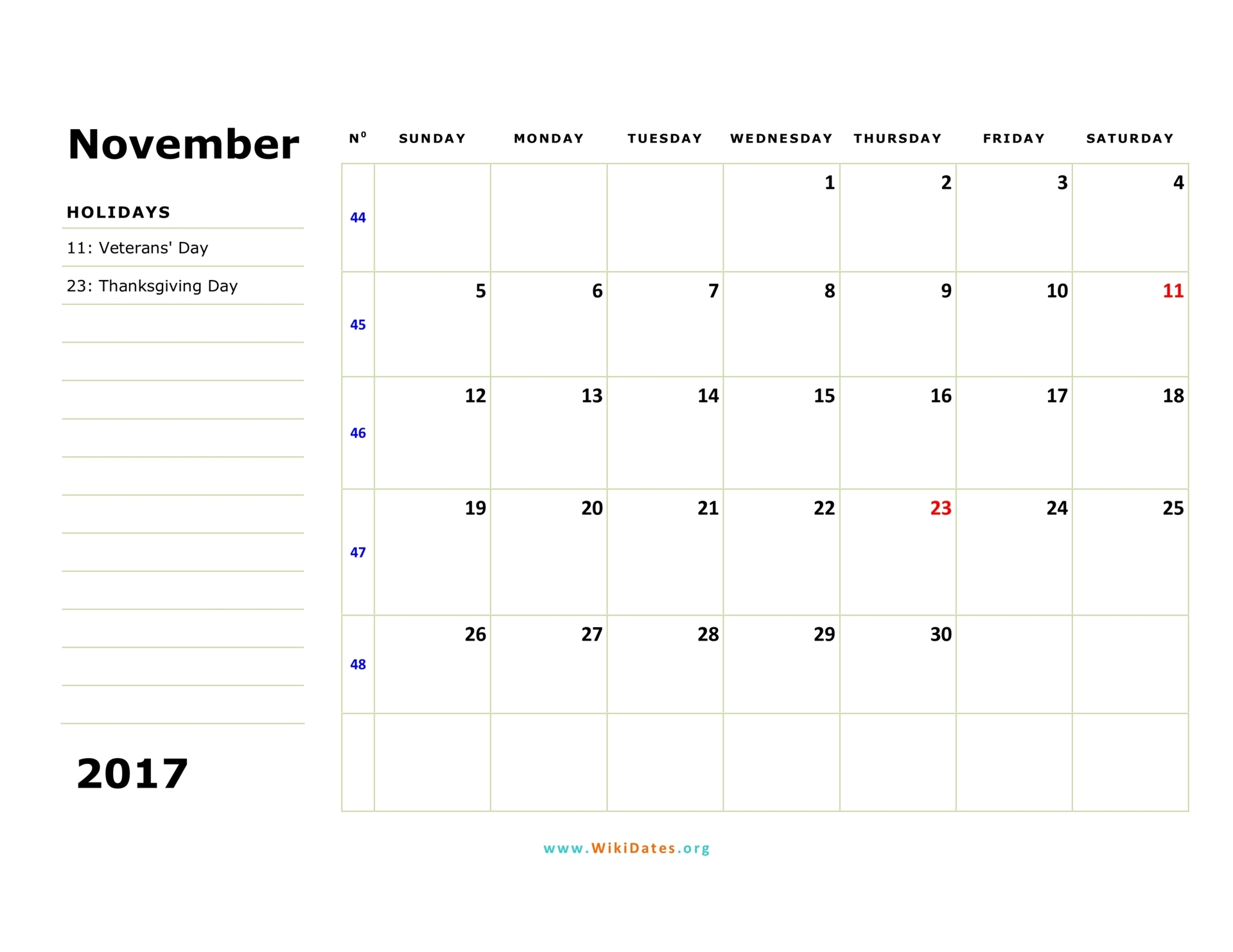 november through november calendar