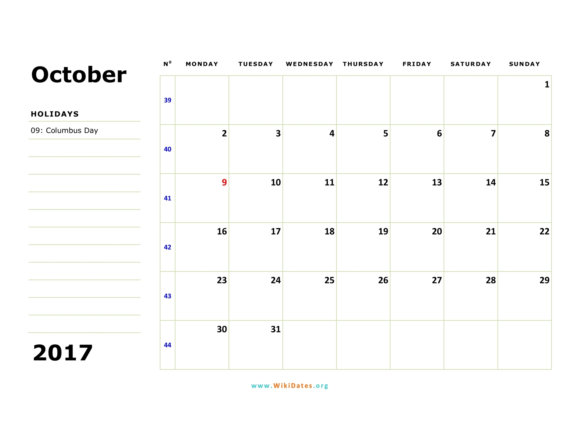 October calendar 2017 microsoft word