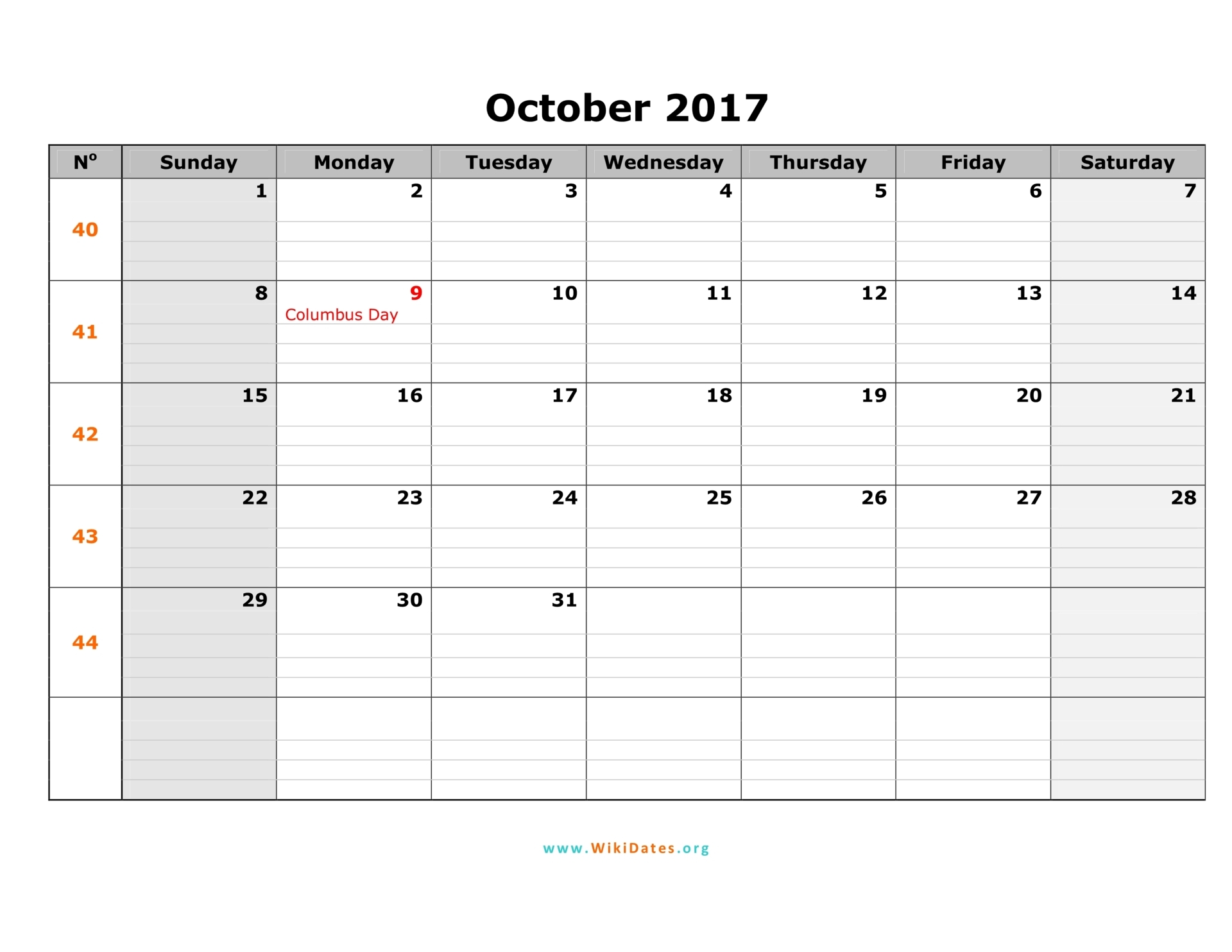 October 2017 Calendar Horizontal