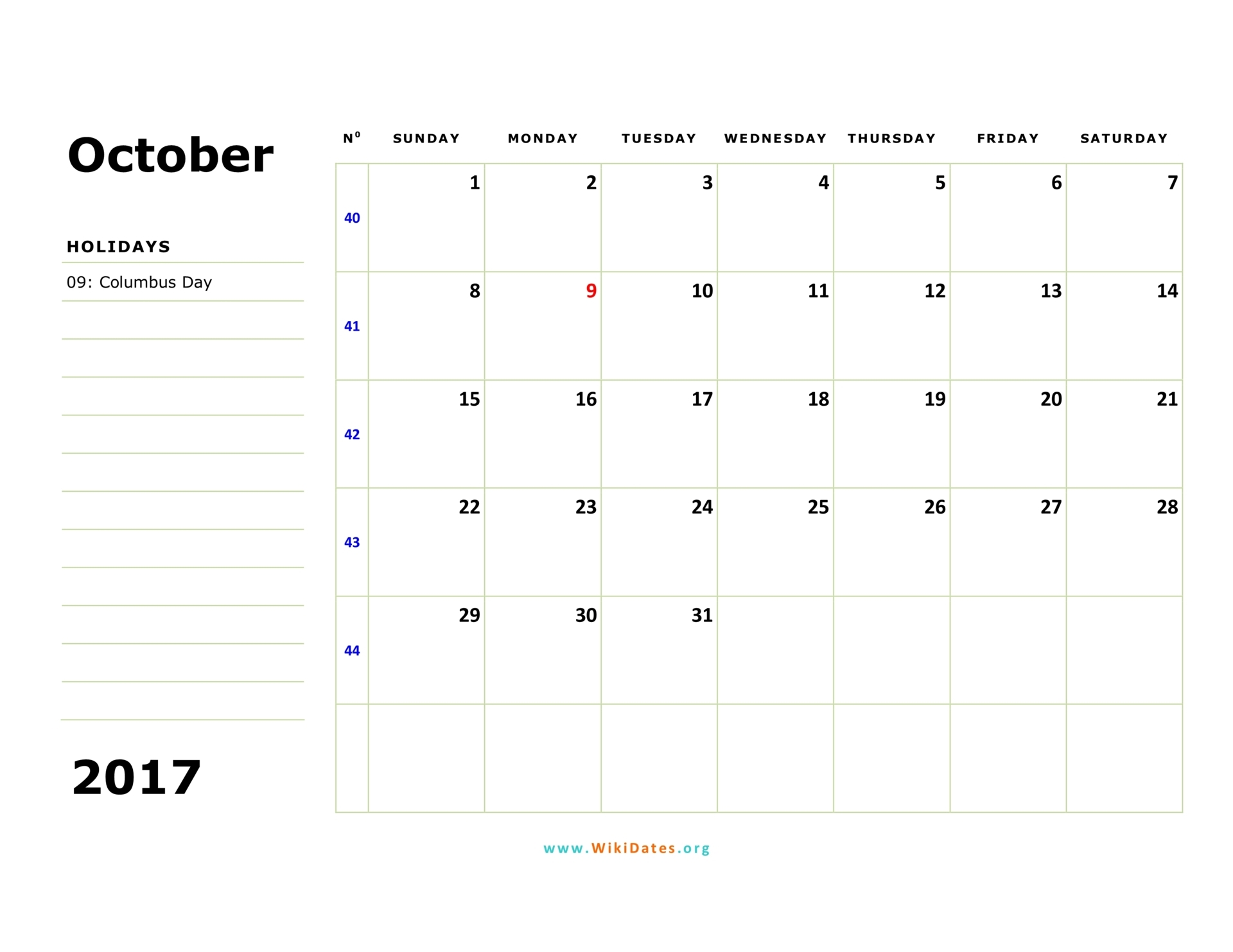October calendar 2017 colorful