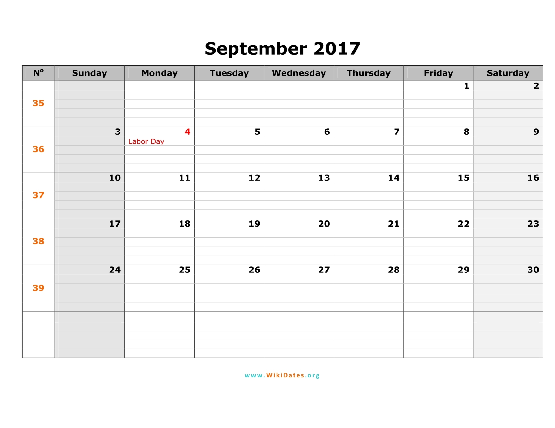 October 2017 calendar with notes