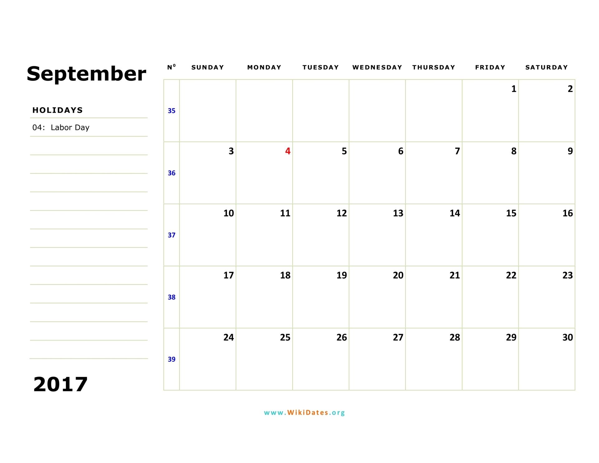 2017 October Calendar Pdf