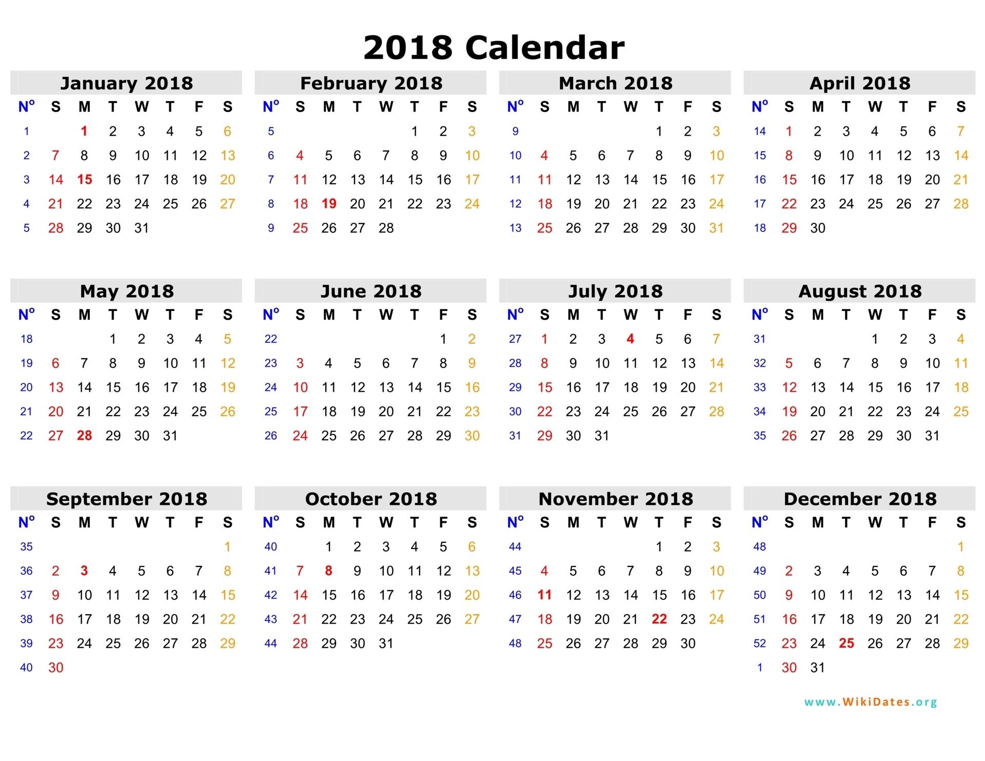 2018 calendar word template
