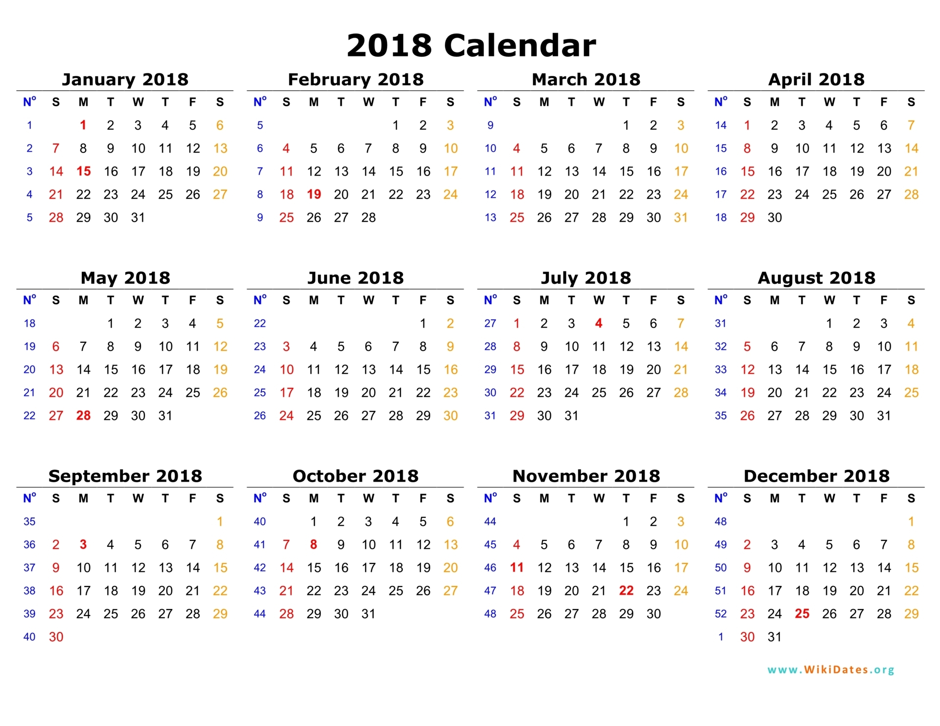 2018 Calendar   WikiDates.org