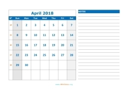 april 2018 calendar sunday 03