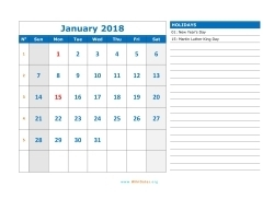 january 2018 calendar sunday 03