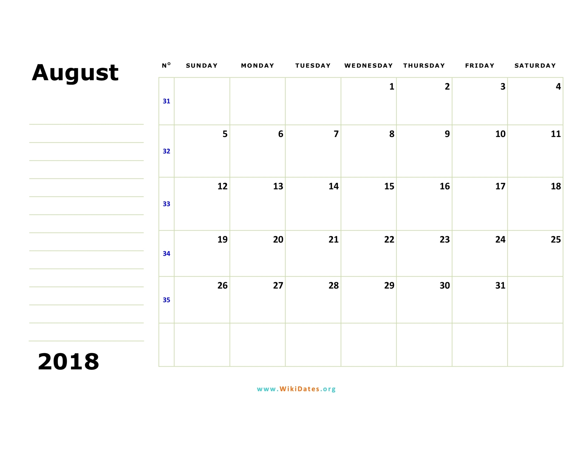 august 2018 calendar sunday 02
