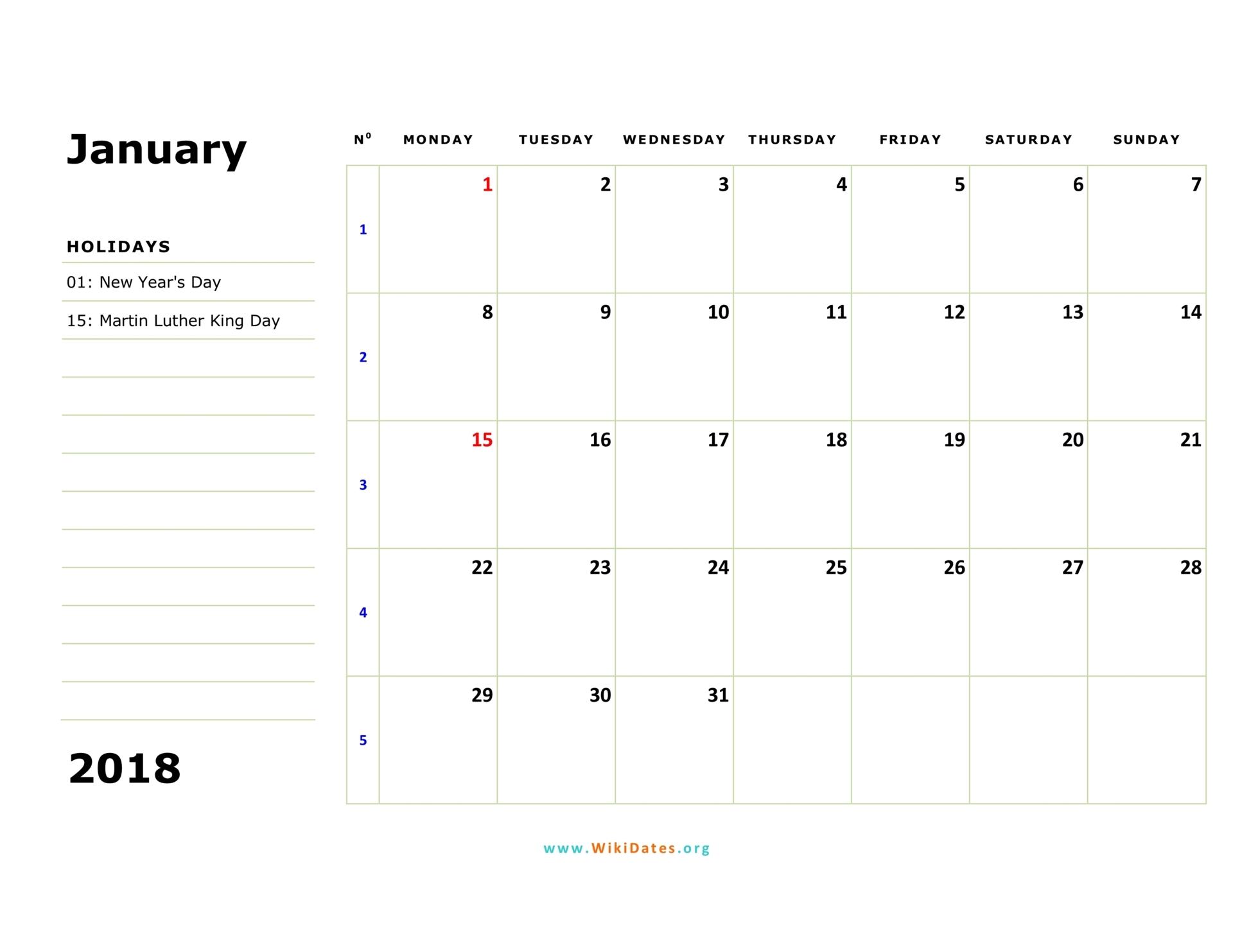 January 2018 Calendar | WikiDates.org