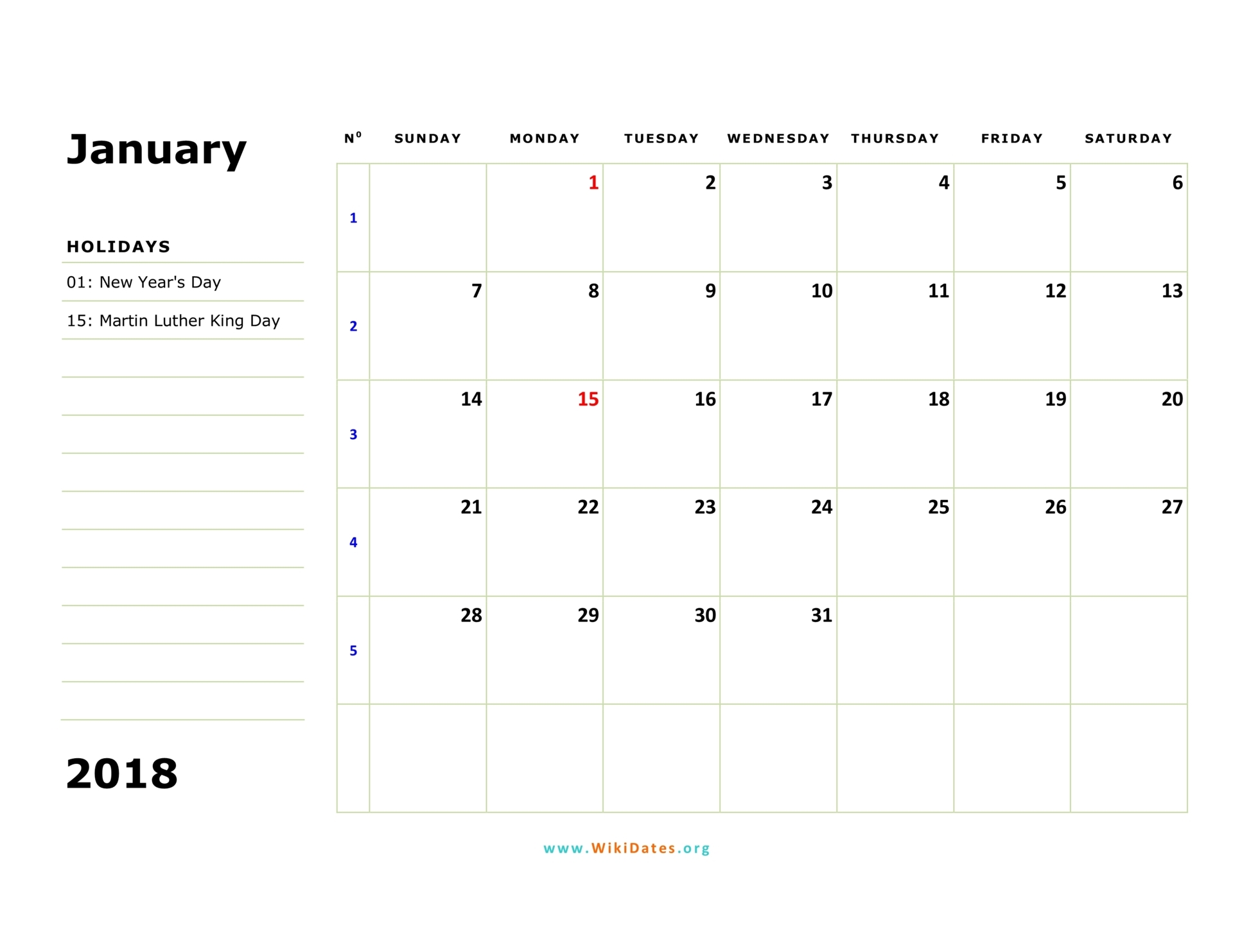 january 2018 calendar sunday 02